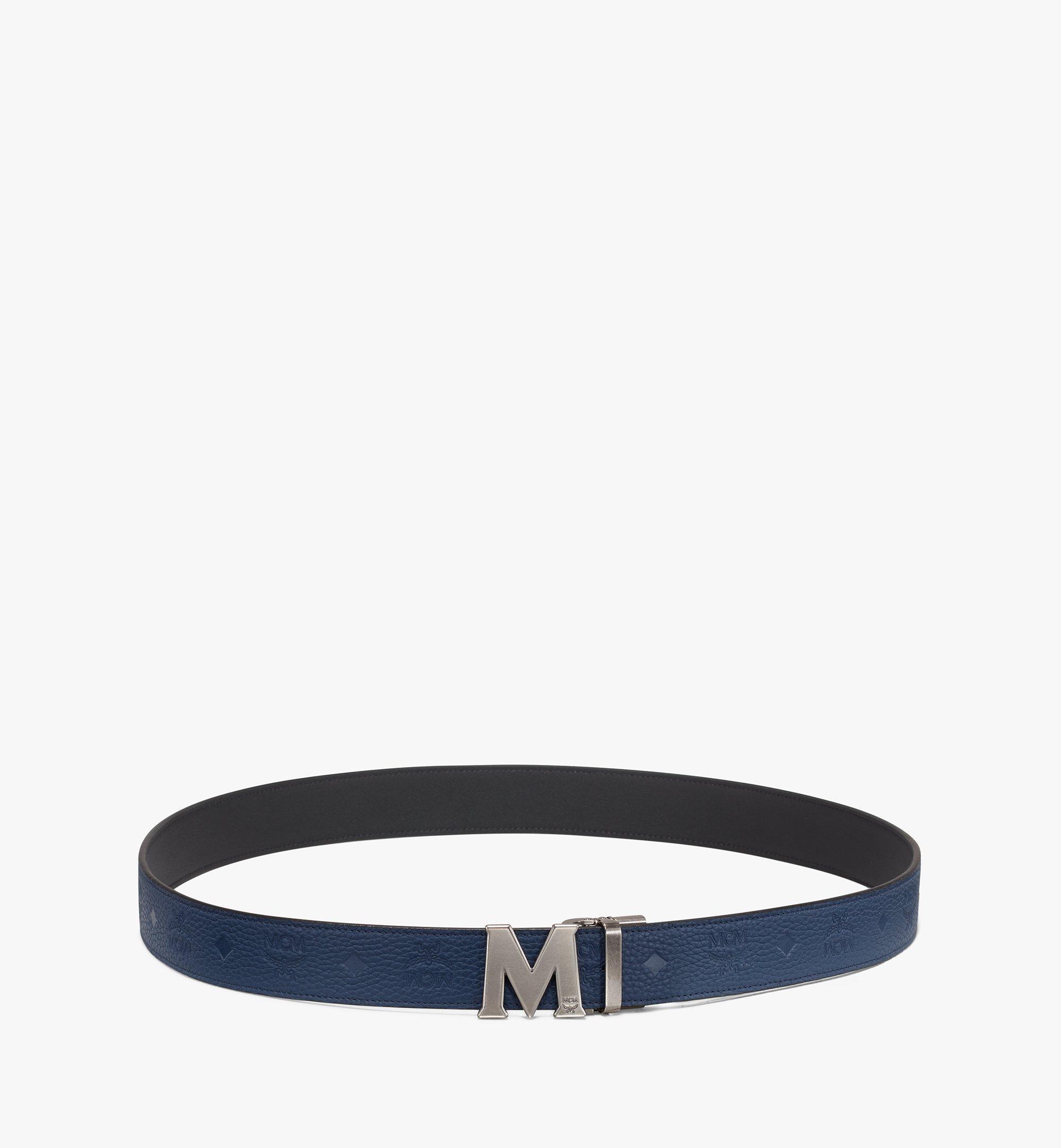 """MCM Claus Antique M Reversible Belt 1.5"""" in Monogram Leather Blue MXB9AVI17VA001 Alternate View 3"""
