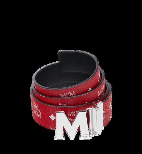 M Wendegürtel 4,4 cm in Visetos mit weissem Logo