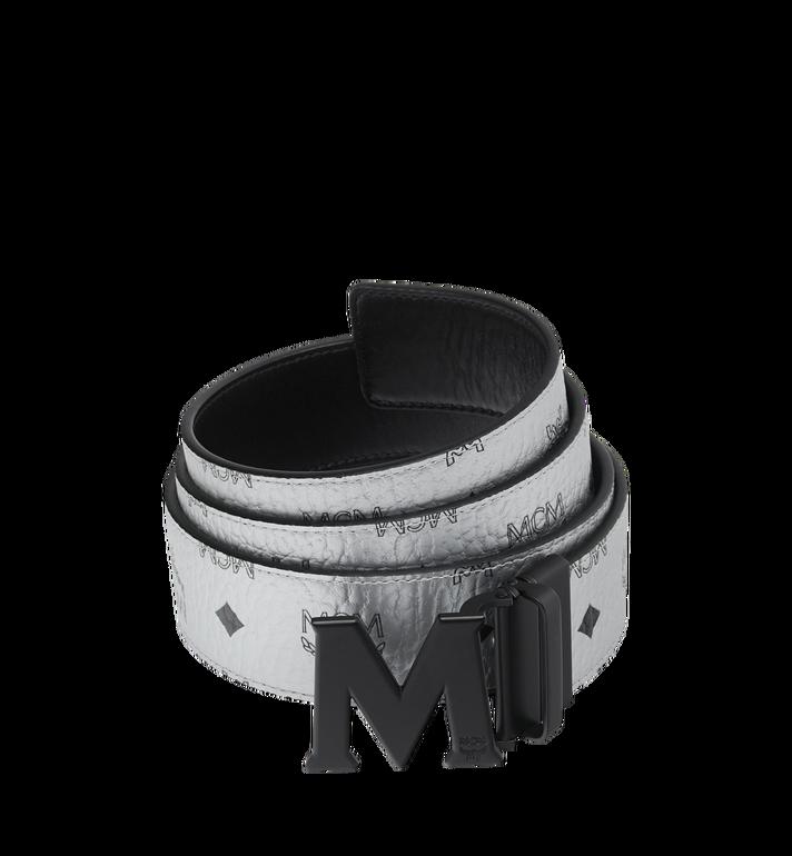 """MCM Black M Reversible Belt 1.75"""" in White Logo Visetos Alternate View"""
