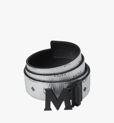 """Black M Reversible Belt 1.75"""" in White Logo Visetos"""