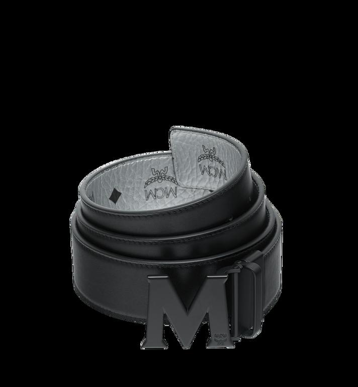 """MCM Black M Reversible Belt 1.75"""" in White Logo Visetos Alternate View 2"""