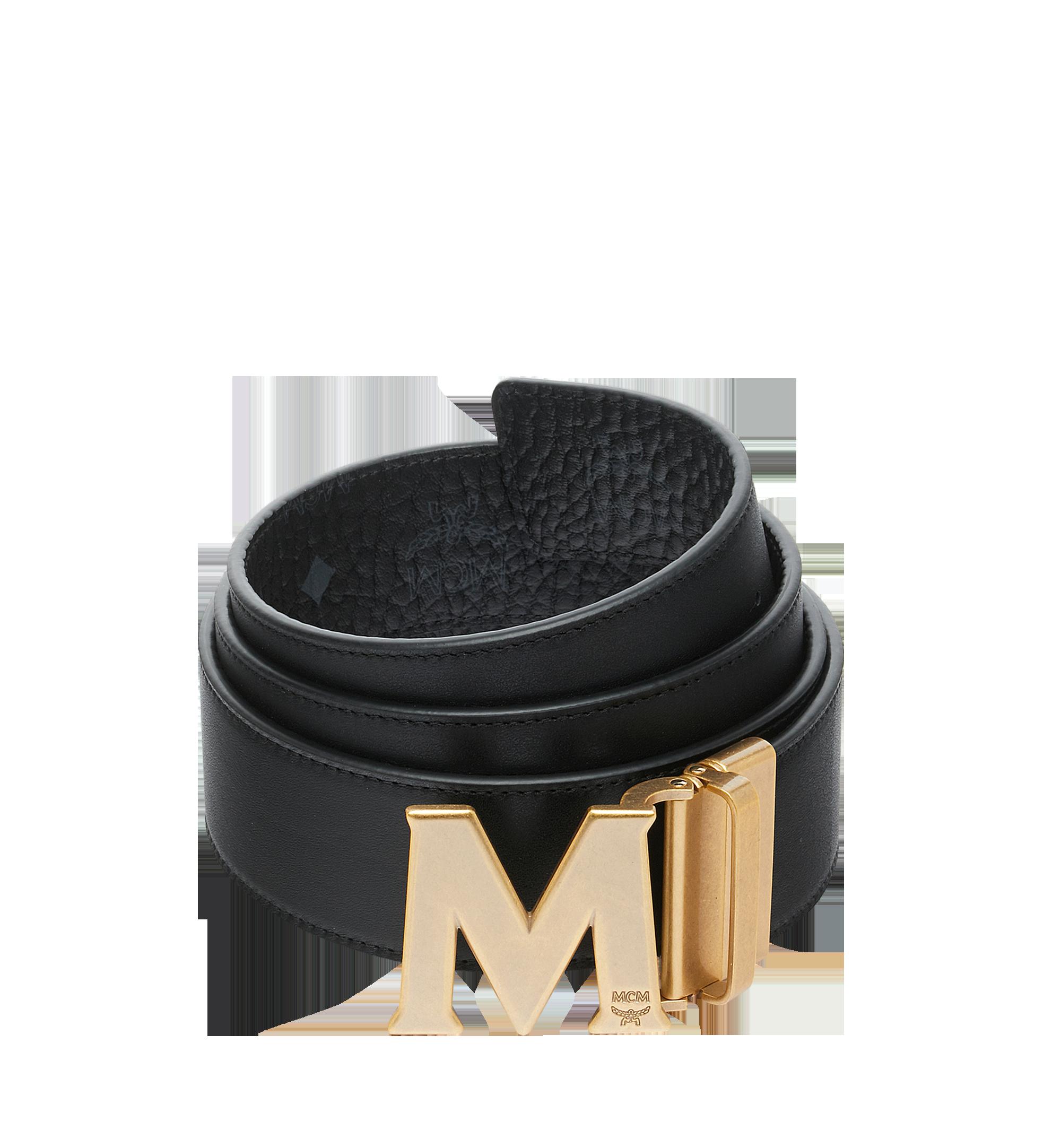 """MCM Antique M Reversible Belt 1.75"""" in Visetos Black MXB9SVI11BK001 Alternate View 1"""