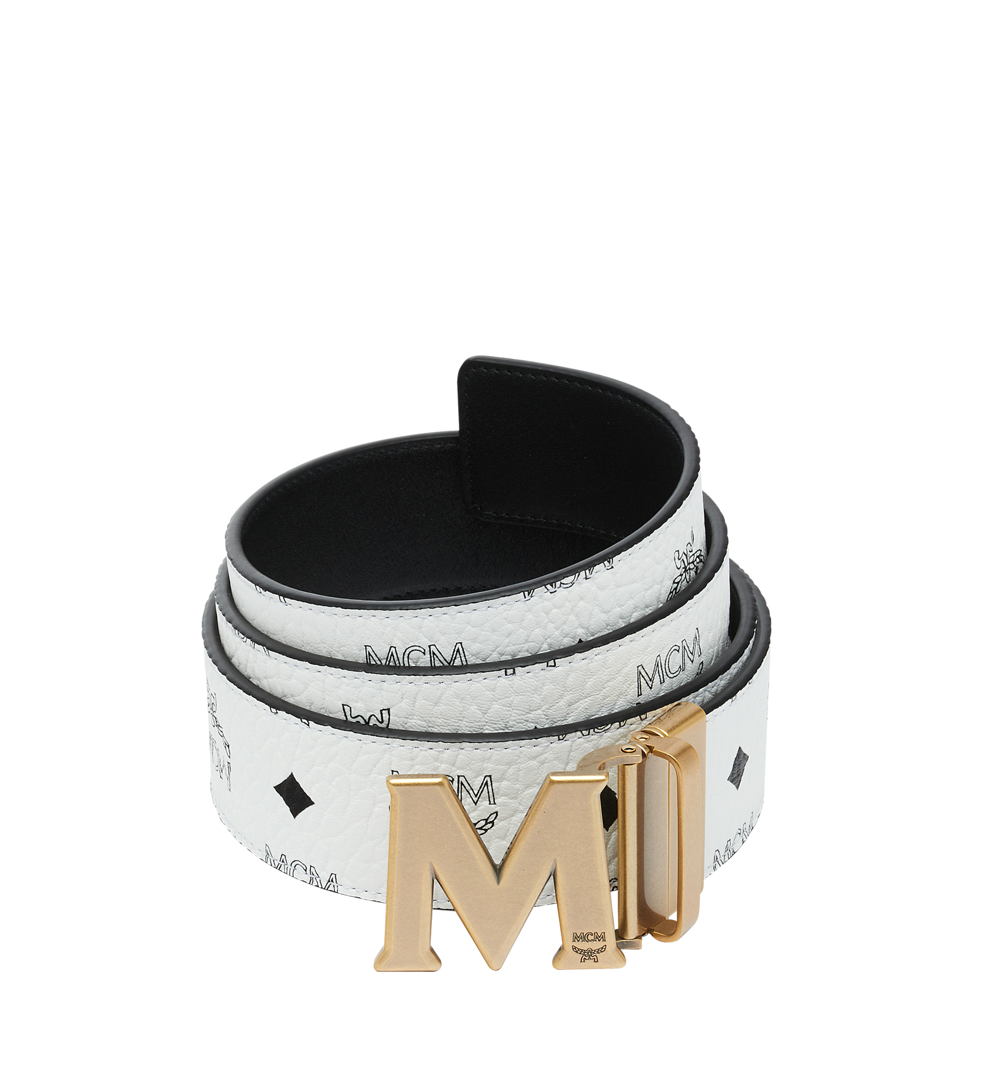 """MCM Antique M Reversible Belt 1.75"""" in Visetos White MXB9SVI11WT001 Alternate View 1"""