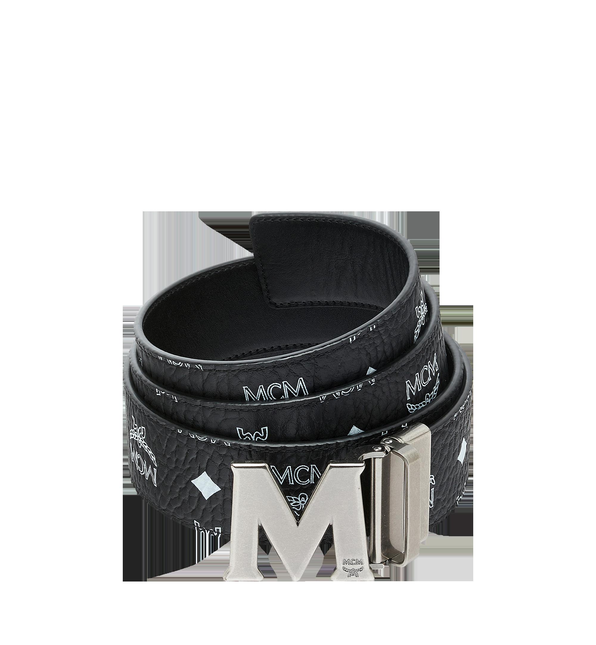"MCM Antique M Reversible Belt 1.75"" in White Logo  Visetos Black MXB9SVI14BV001 Alternate View 1"