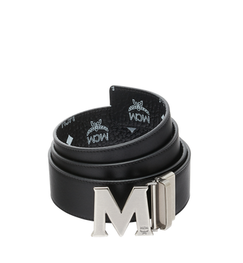 "MCM Antique M Reversible Belt 1.75"" in White Logo  Visetos Alternate View 2"