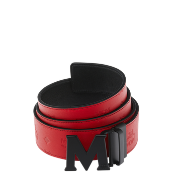 "MCM Claus Black M Reversible Belt 1.75"" in Monogram Leather Alternate View"