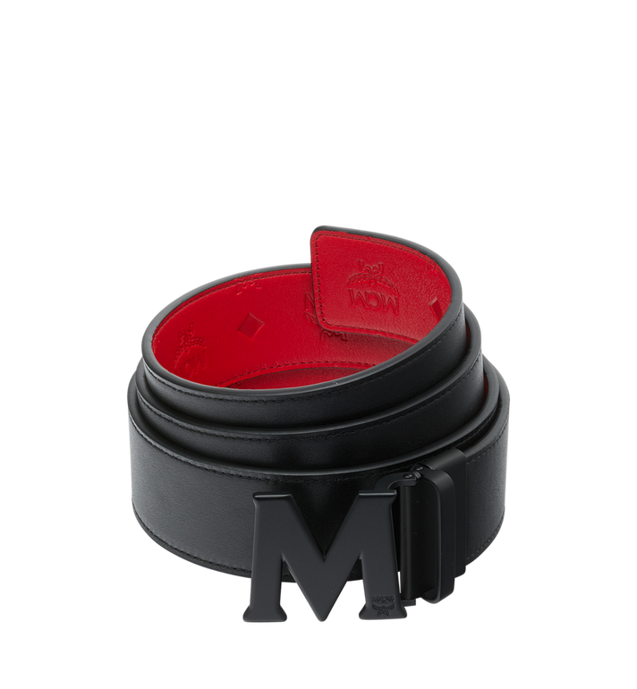 "MCM Claus Black M Reversible Belt 1.75"" in Monogram Leather AlternateView2"
