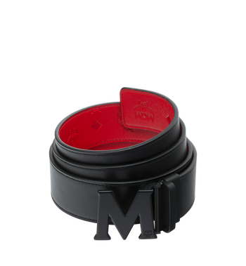 "MCM Claus Black M Reversible Belt 1.75"" in Monogram Leather Alternate View 2"