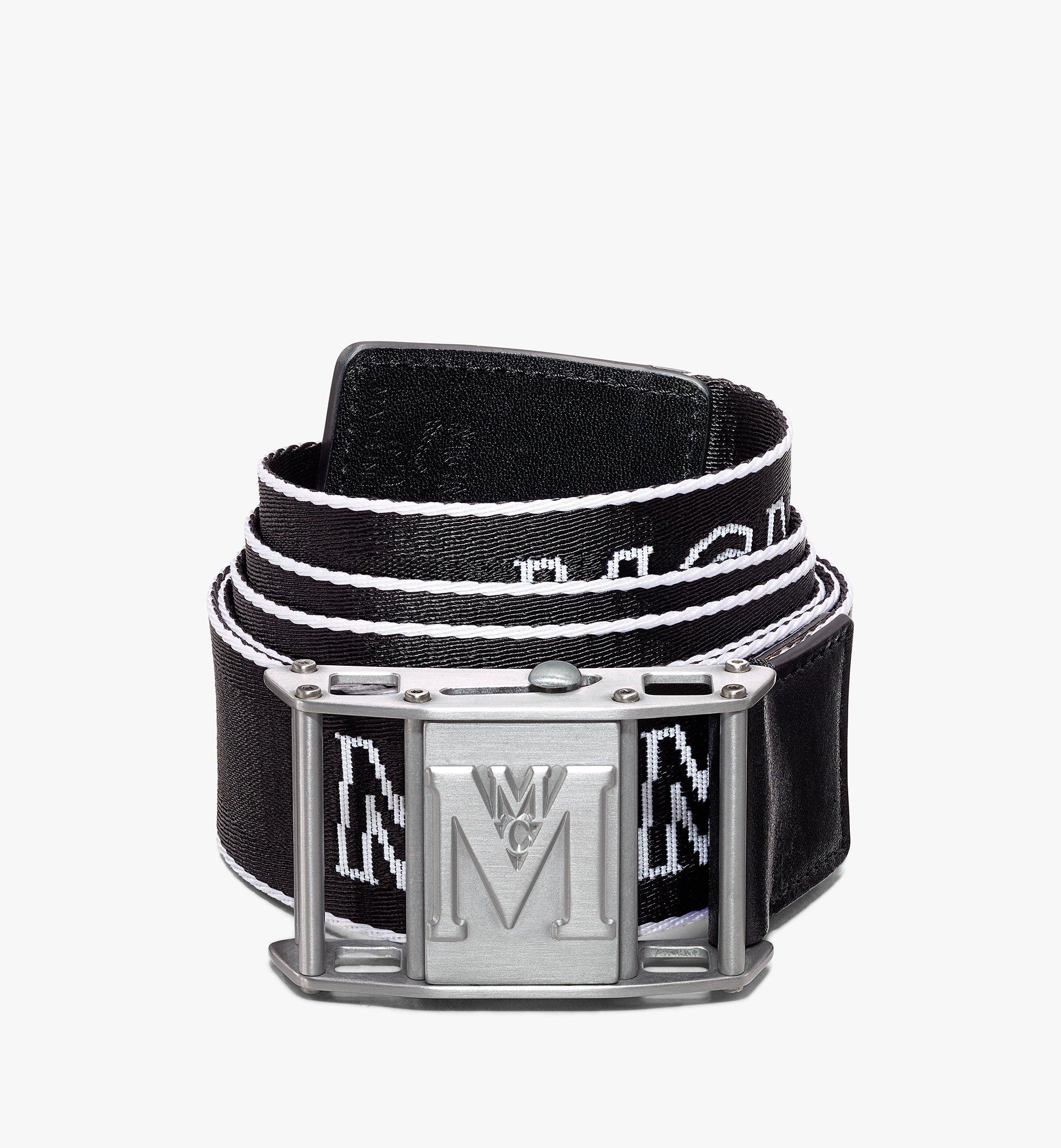 MCM Ceinture en toile à logo industriel 3,8 cm Black MXBAAMM01BK001 Alternate View 1