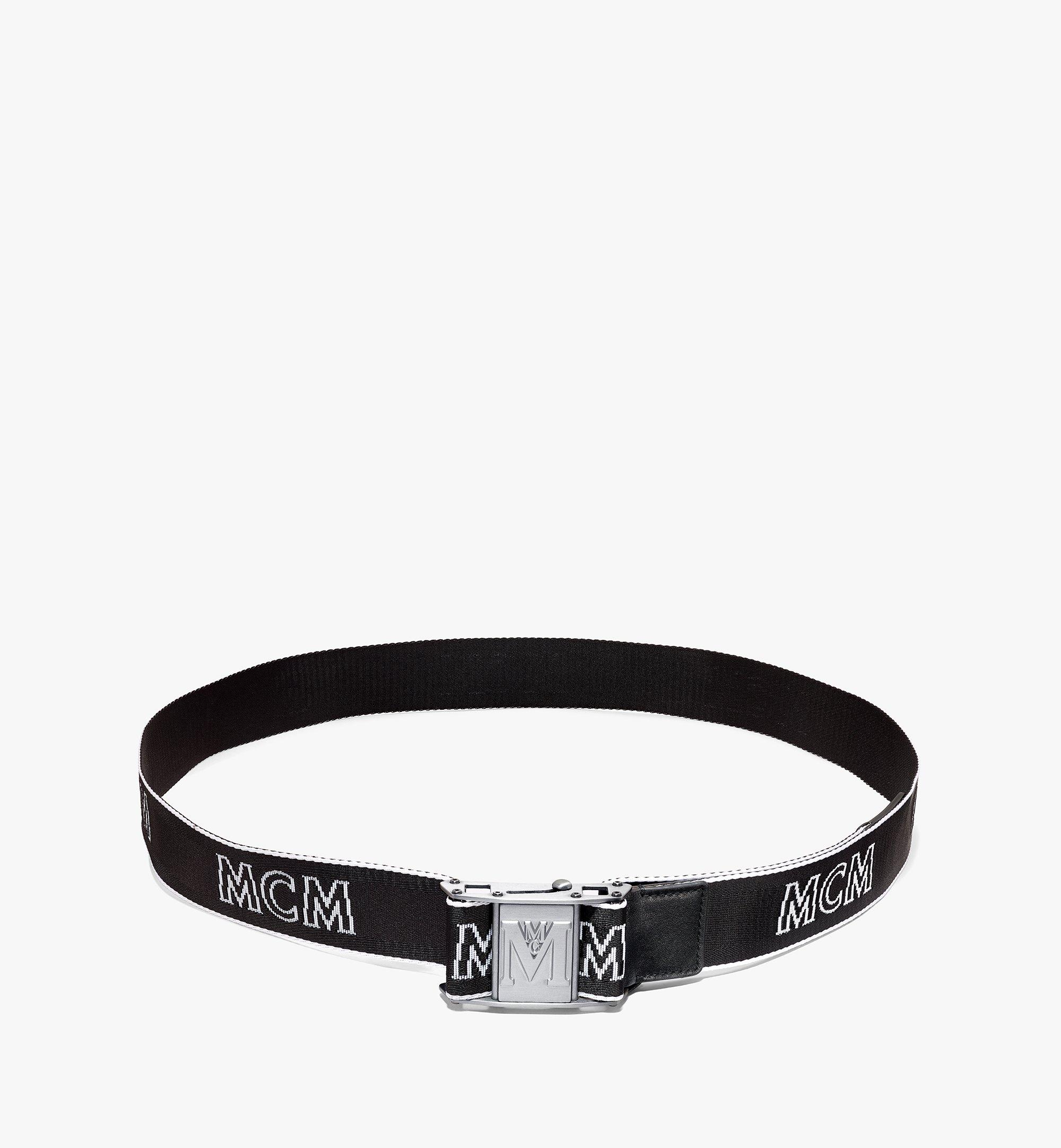 MCM Ceinture en toile à logo industriel 3,8 cm Black MXBAAMM01BK001 Alternate View 2