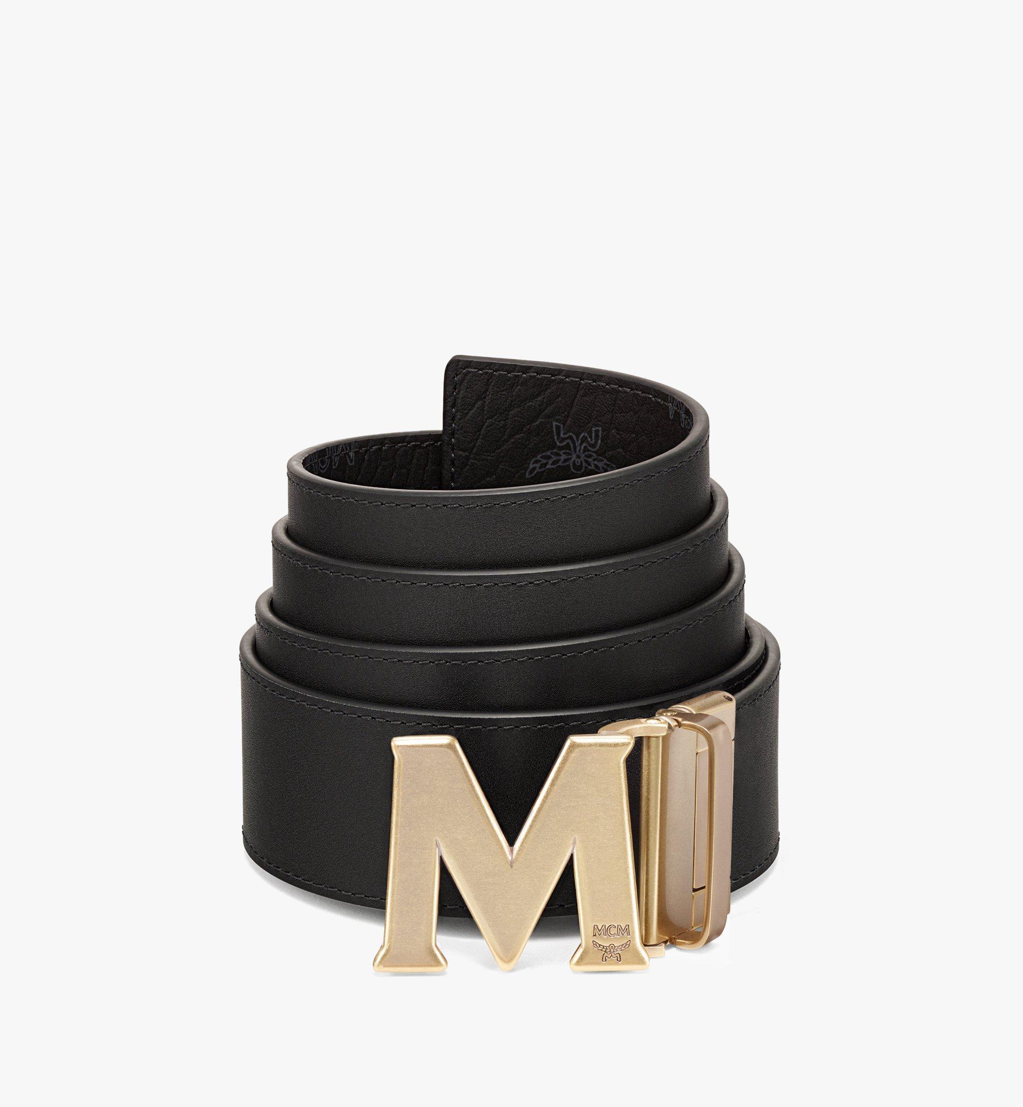 "MCM Claus Antique M Reversible Belt 1.75"" in Visetos Black MXBAAVI05BK001 Alternate View 1"