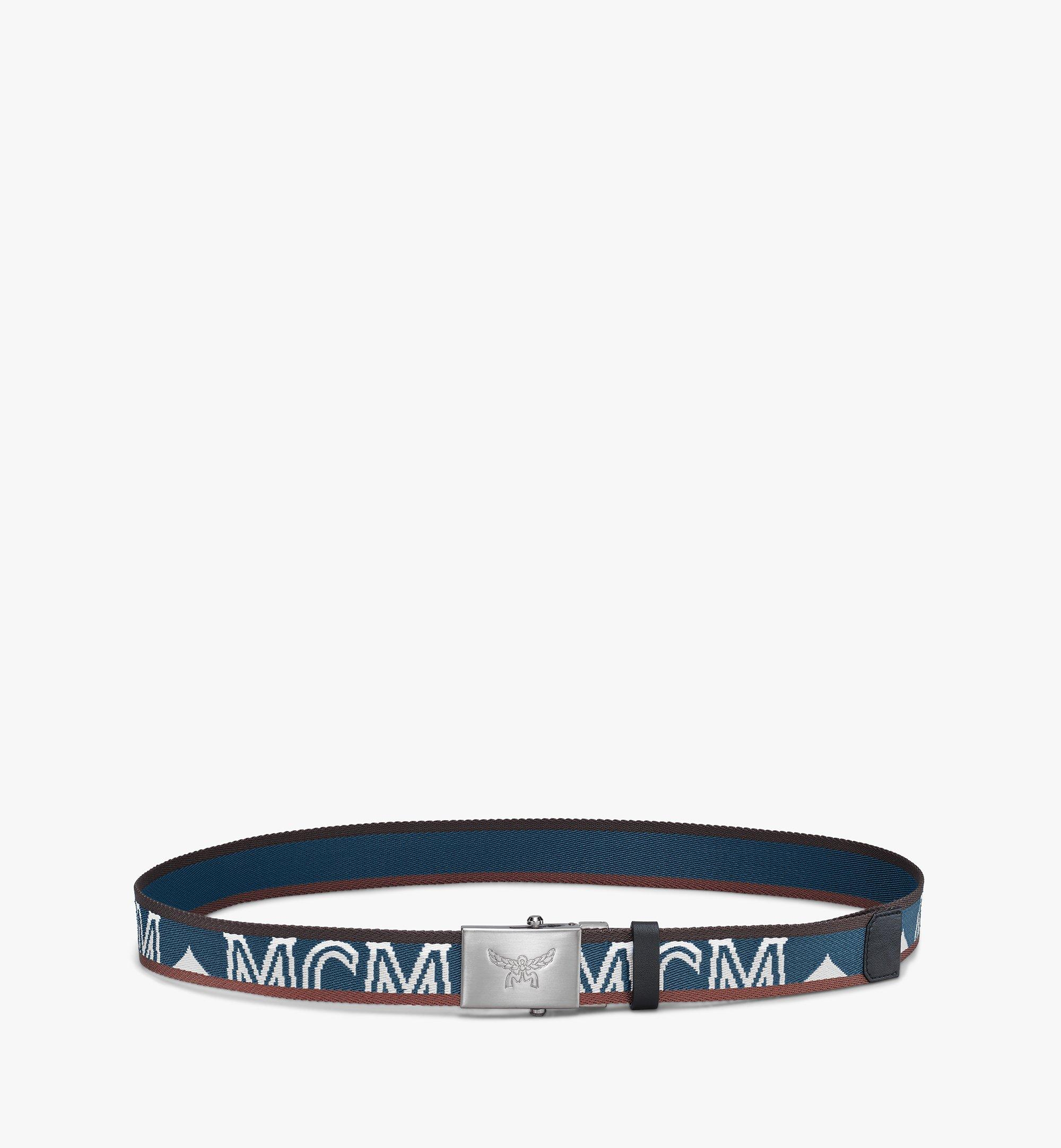"MCM Logo Webbing Belt 1.4"" Blue MXBASMM01JF001 Alternate View 1"