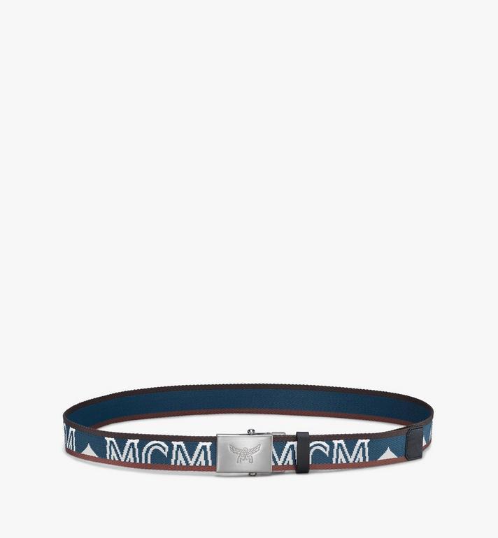 "MCM Logo Webbing Belt 1.4"" Blue MXBASMM01JF001 Alternate View 2"