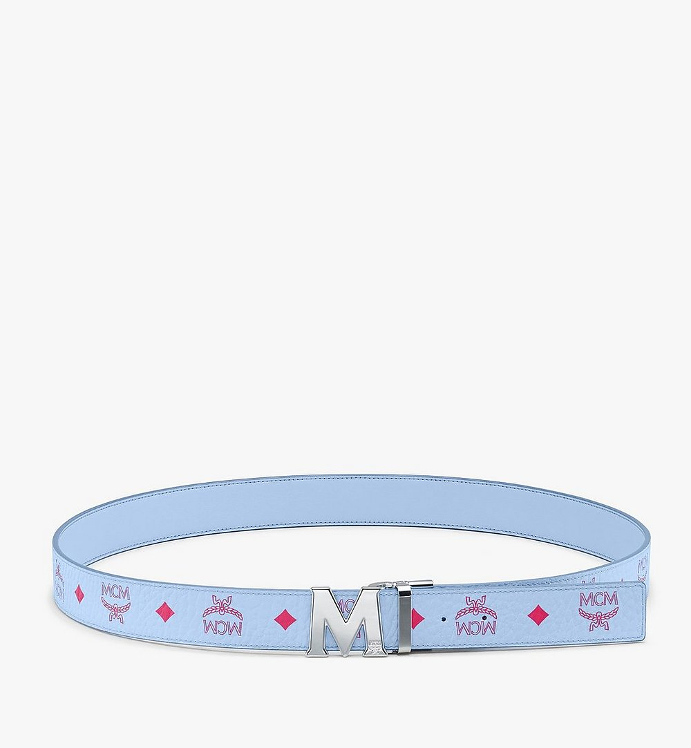 "MCM Claus M Reversible Belt 1.5"" in Visetos Blue MXBASVI12H2001 Alternate View 2"