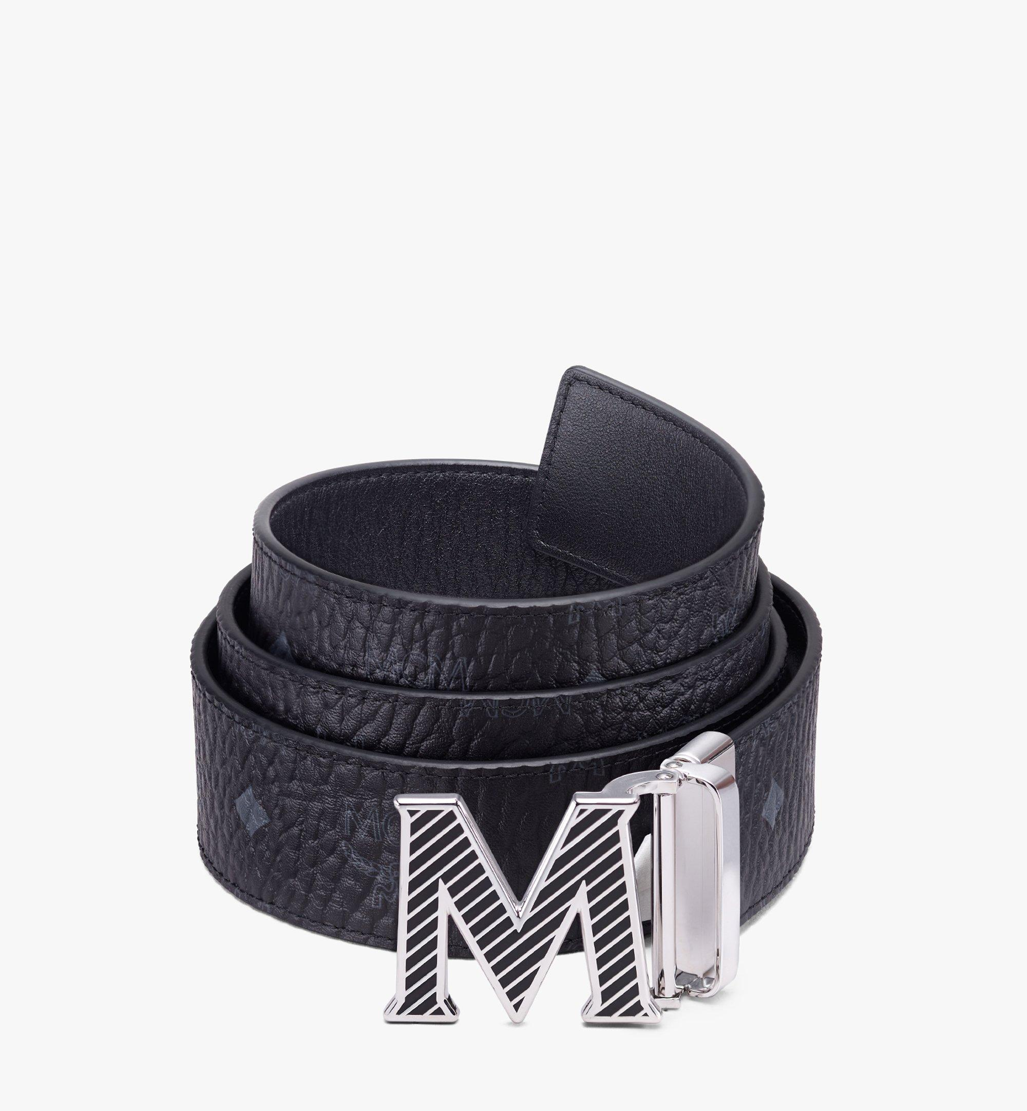 MCM Visetos皮革 Claus Oblique M 1.5 吋可翻轉使用皮帶 Black MXBASVI19BK001 更多視圖 1
