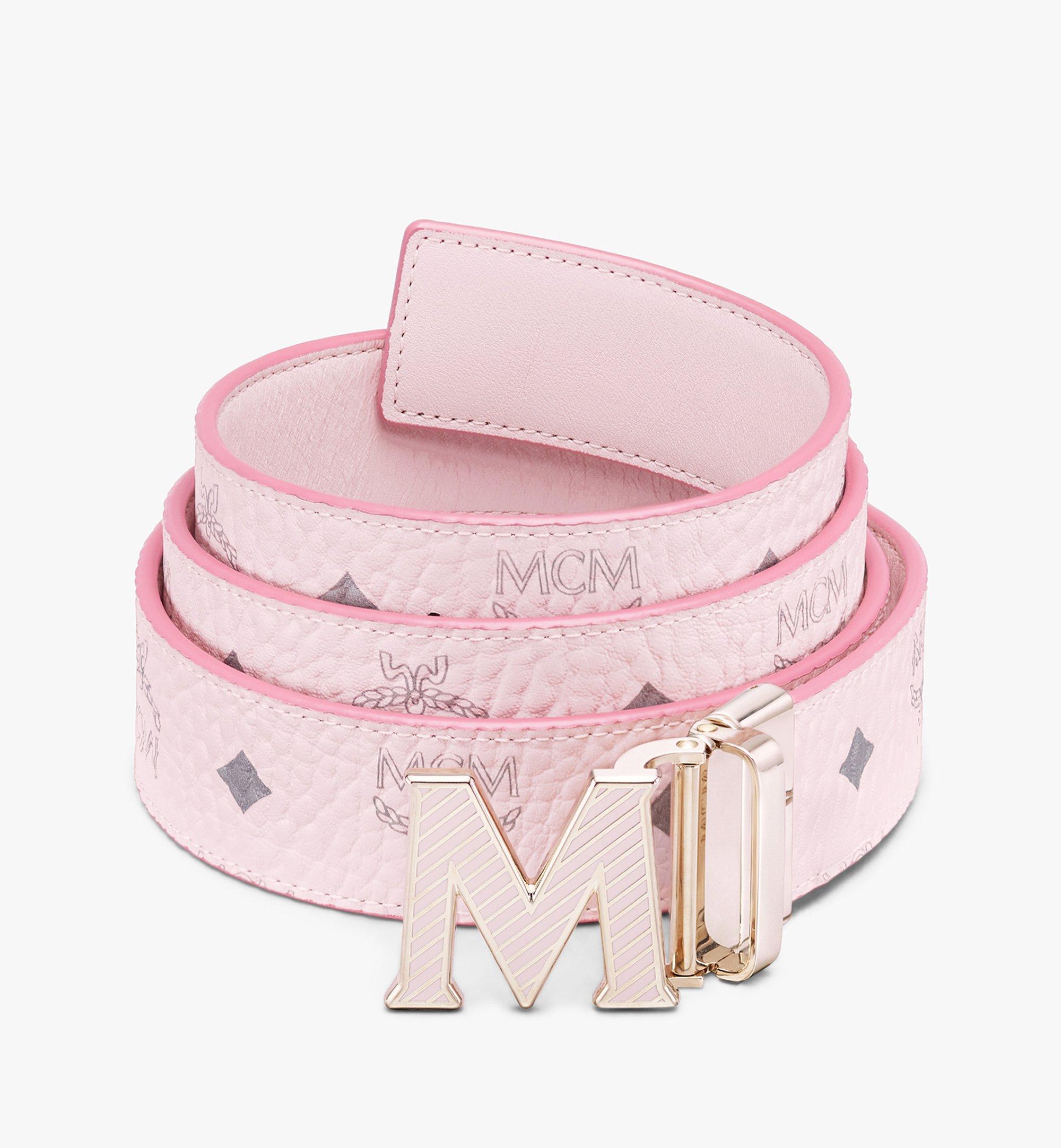 MCM Visetos皮革 Claus Oblique M 1.5 吋可翻轉使用皮帶 Pink MXBASVI20QH001 更多視圖 1