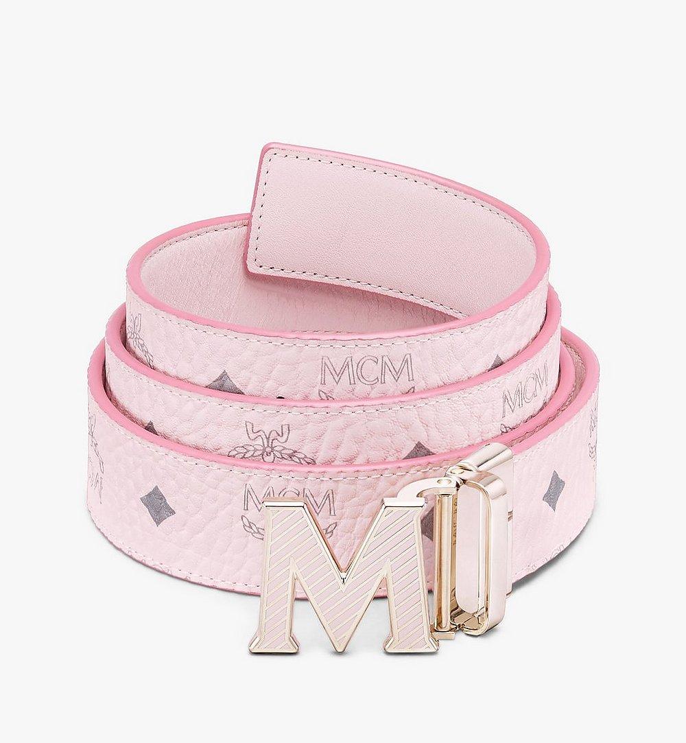 """MCM Claus Oblique M Reversible Belt 1.5"""" in Visetos Pink MXBASVI20QH001 Alternate View 1"""