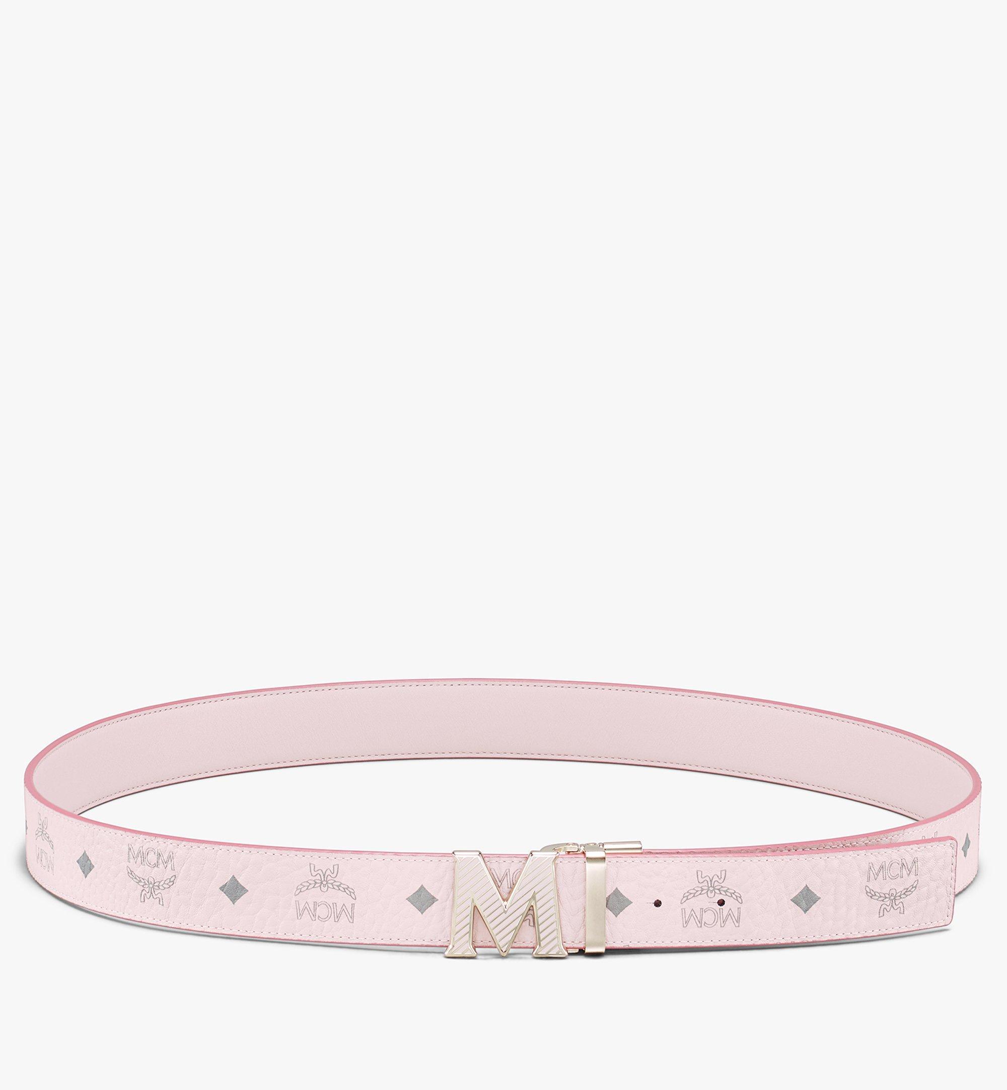 MCM Visetos皮革 Claus Oblique M 1.5 吋可翻轉使用皮帶 Pink MXBASVI20QH001 更多視圖 2