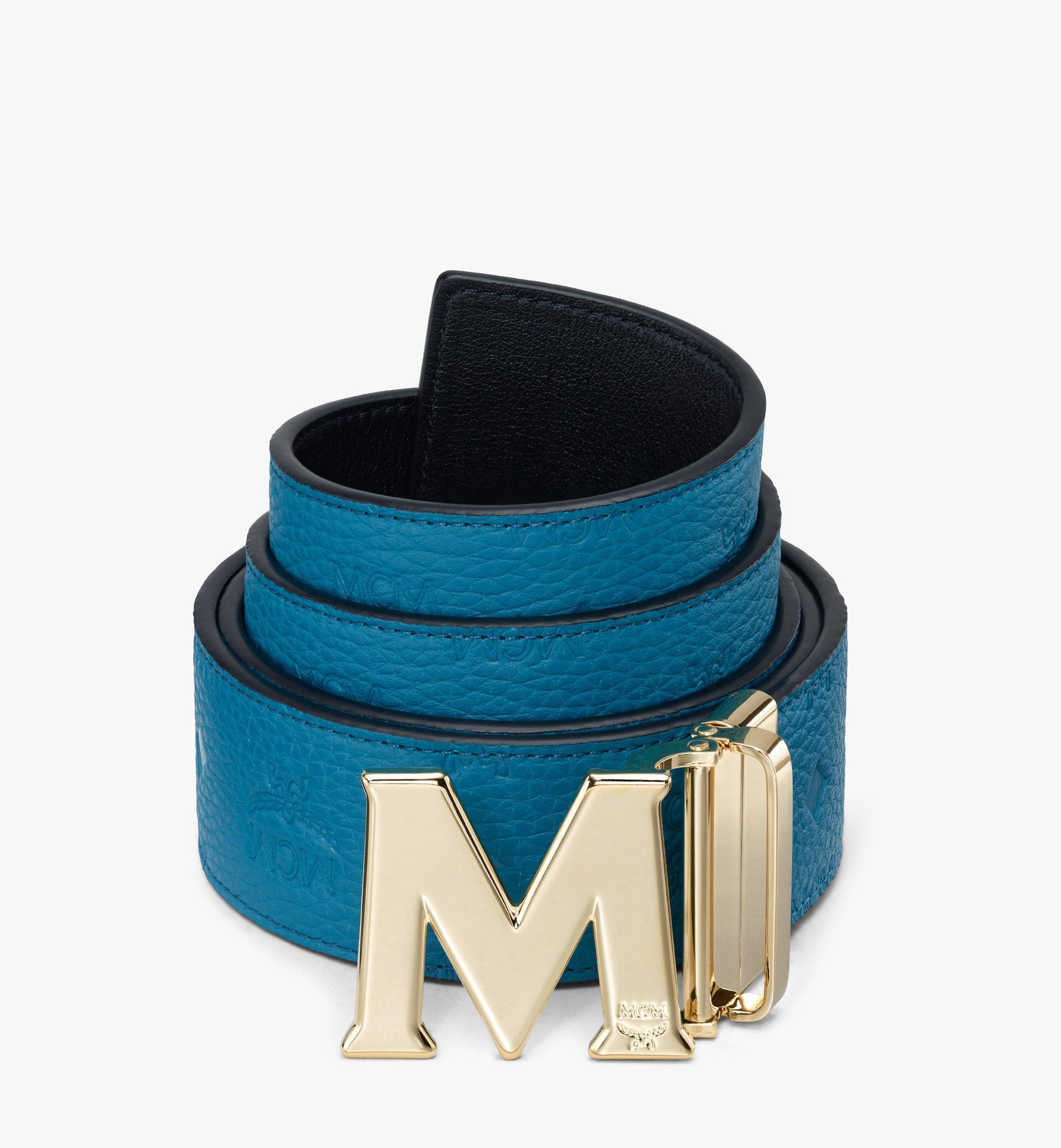 "MCM Claus M Reversible Belt 1.75"" in Monogram Leather Blue MXBASVI21JF001 Alternate View 1"