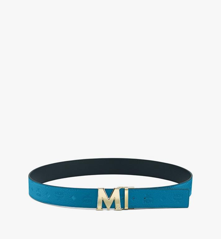 "MCM Claus M Reversible Belt 1.75"" in Monogram Leather Blue MXBASVI21JF001 Alternate View 3"