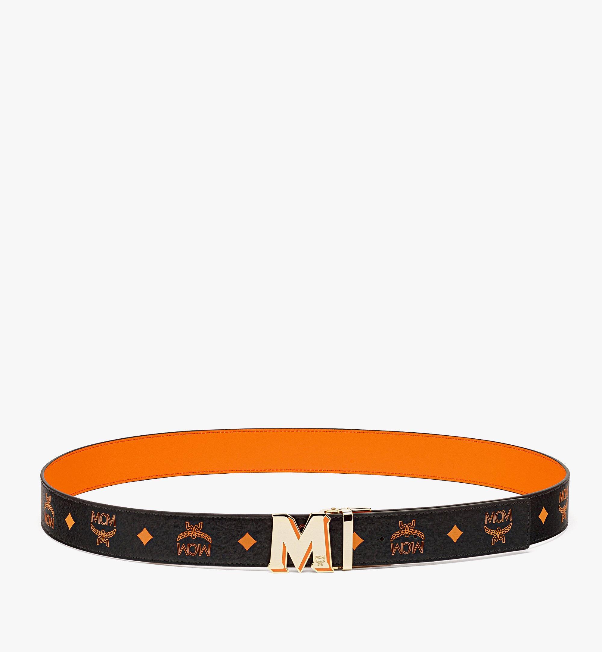 """MCM ClausWendegürtel aus geprägtem Leder mit """"M""""-Schnalle aus Epoxidharz, 3,8cm Orange MXBBAVI08O9001 Noch mehr sehen 2"""