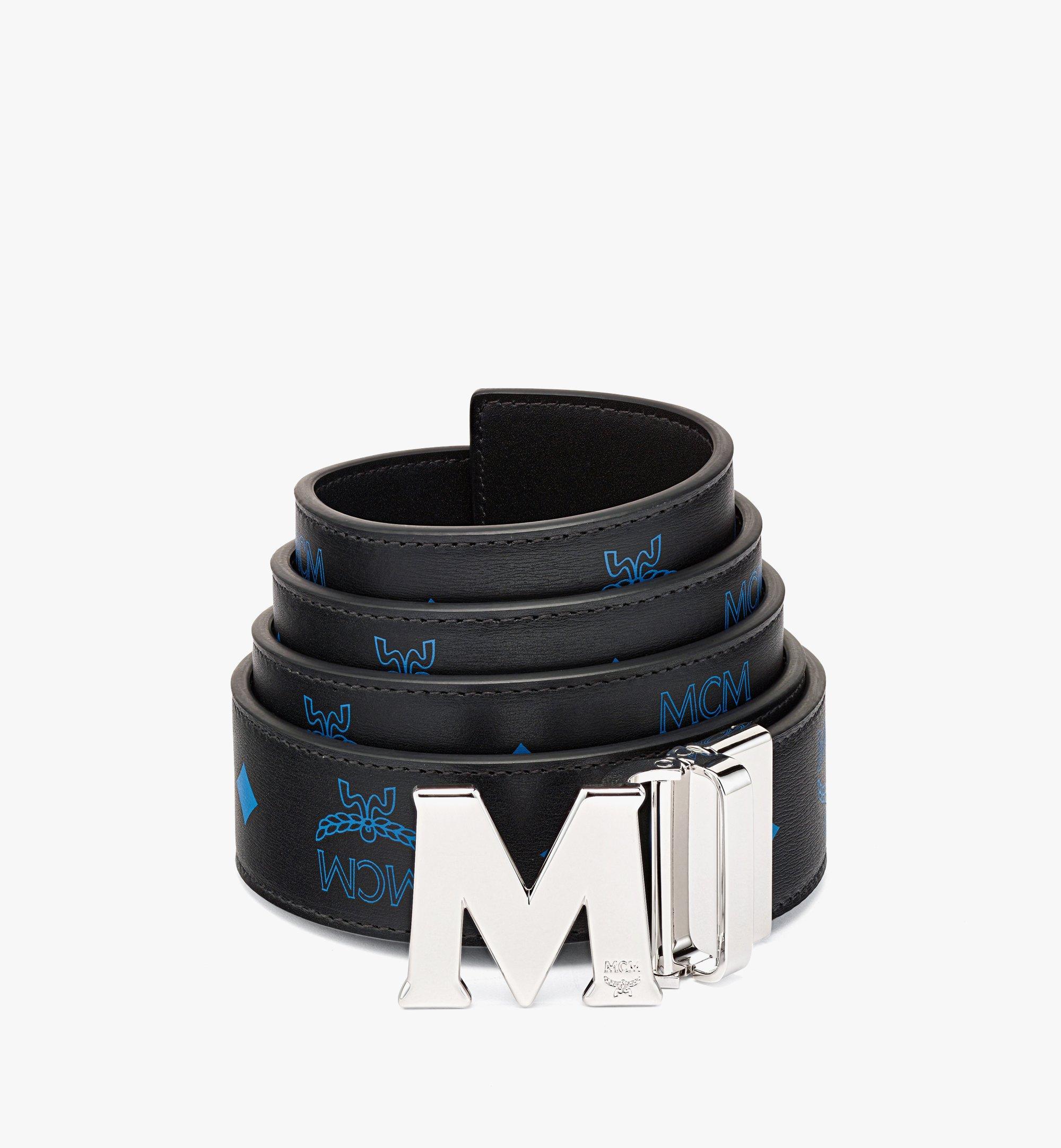MCM Ceinture réversible Claus M 3,8cm en cuir embossé Blue MXBBAVI14H9001 Plus de photos 1