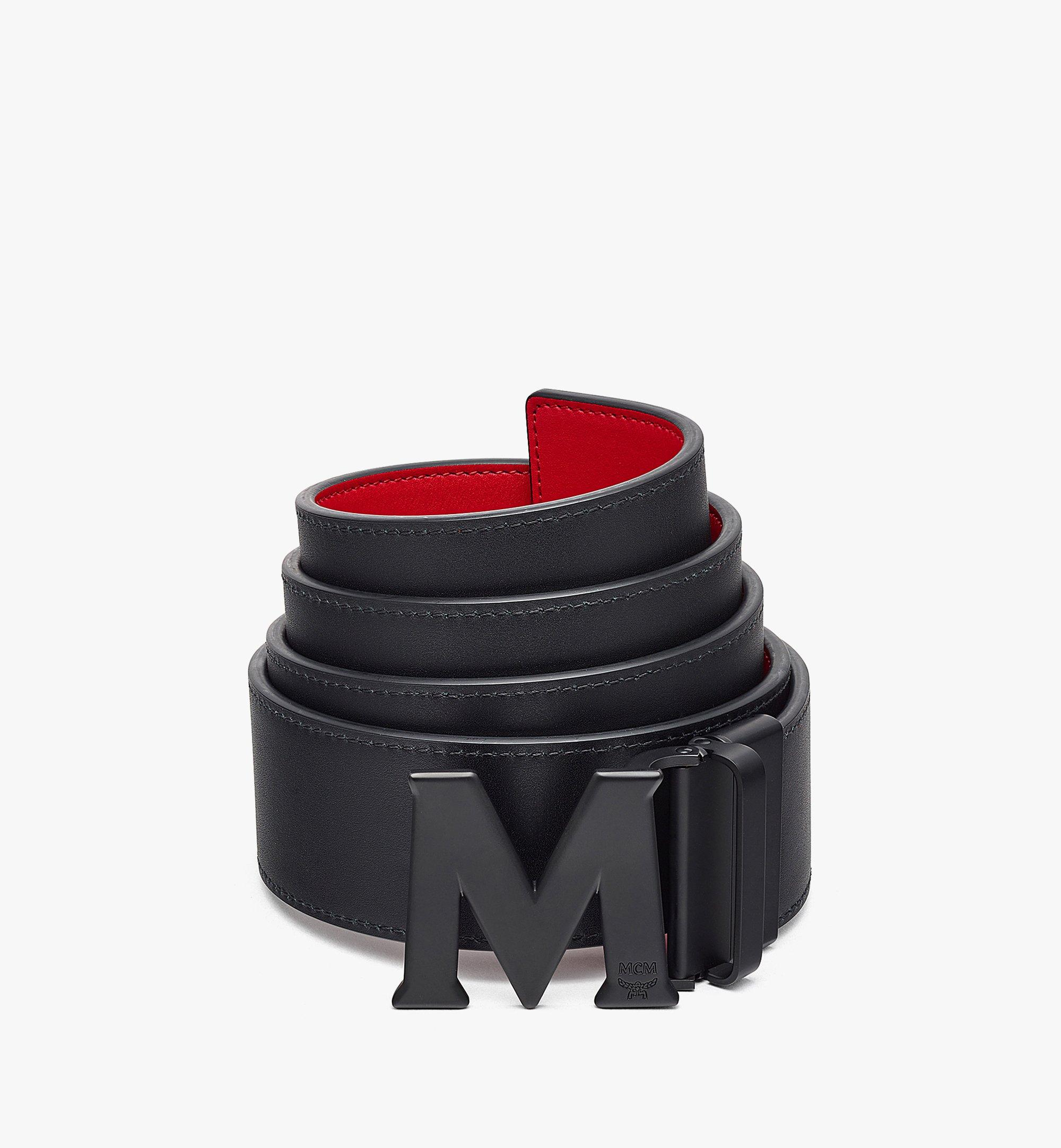 """MCM Claus Matte M Reversible Belt 1"""" in Nappa Leather Red MXBBAVI15R0001 Alternate View 1"""