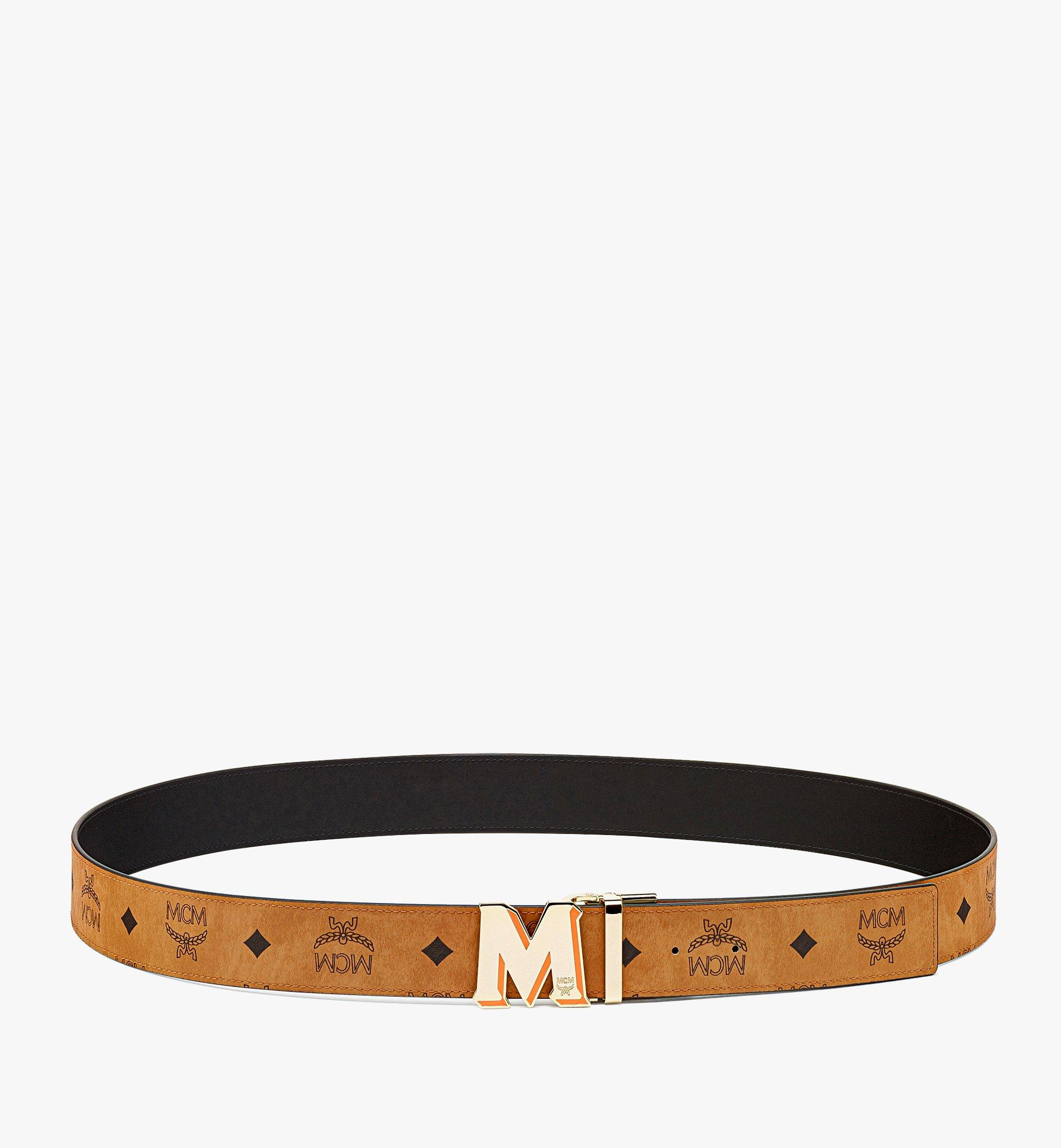 "MCM Claus Epoxy M Reversible Belt 1.5"" in Visetos Cognac MXBBAVI22CO001 Alternate View 2"
