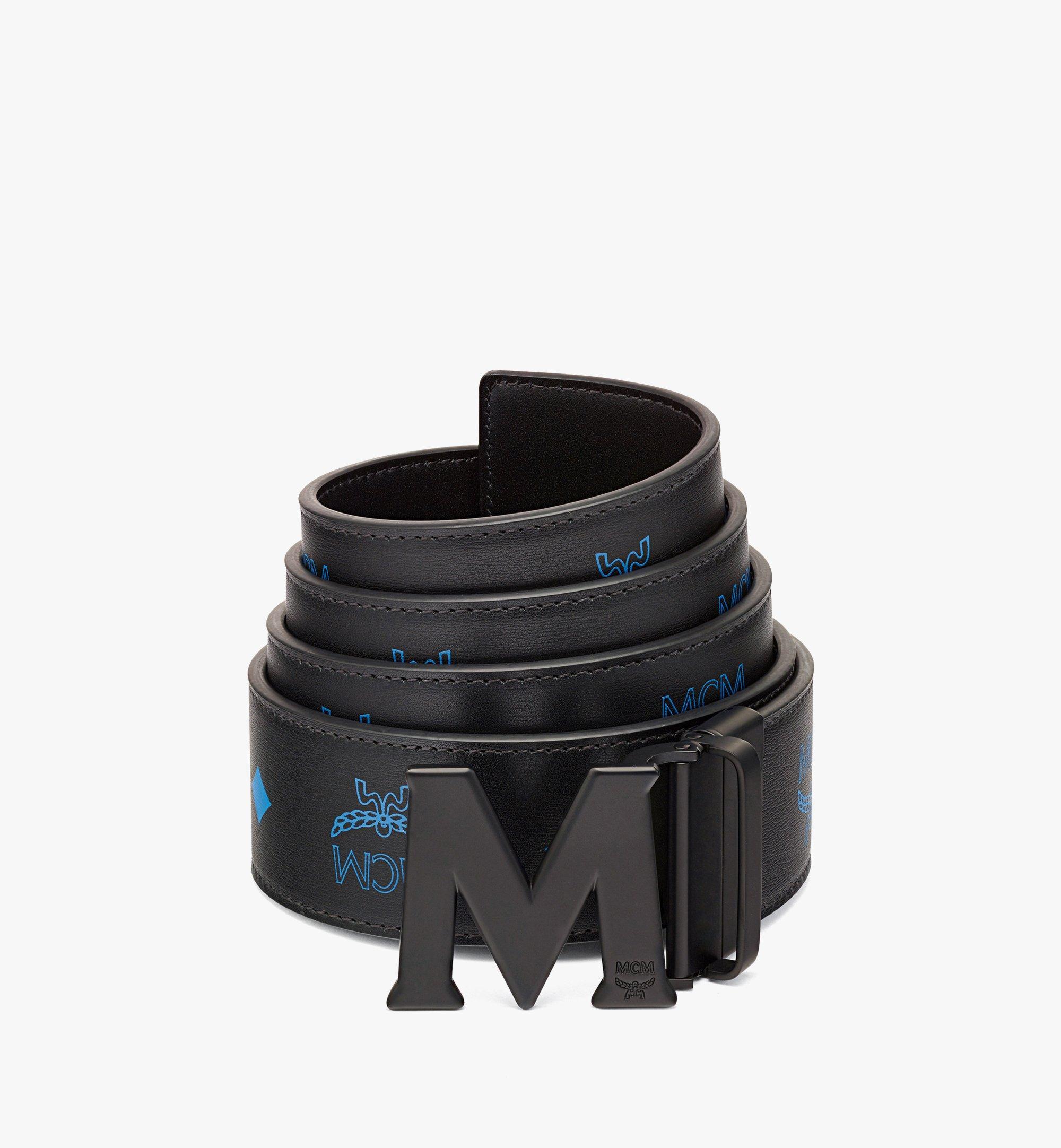 "MCM Claus Matte M Reversible Belt 1.75"" in Embossed Leather Blue MXBBAVI23H9001 Alternate View 1"