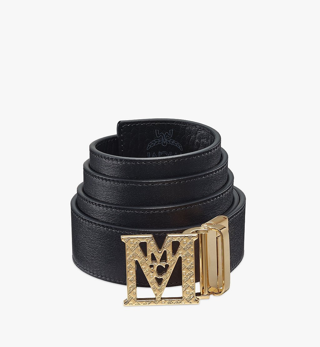 MCM Mena Textured M Reversible Belt 3.8 cm in Visetos Black MXBBSLM01BK001 Alternate View 1