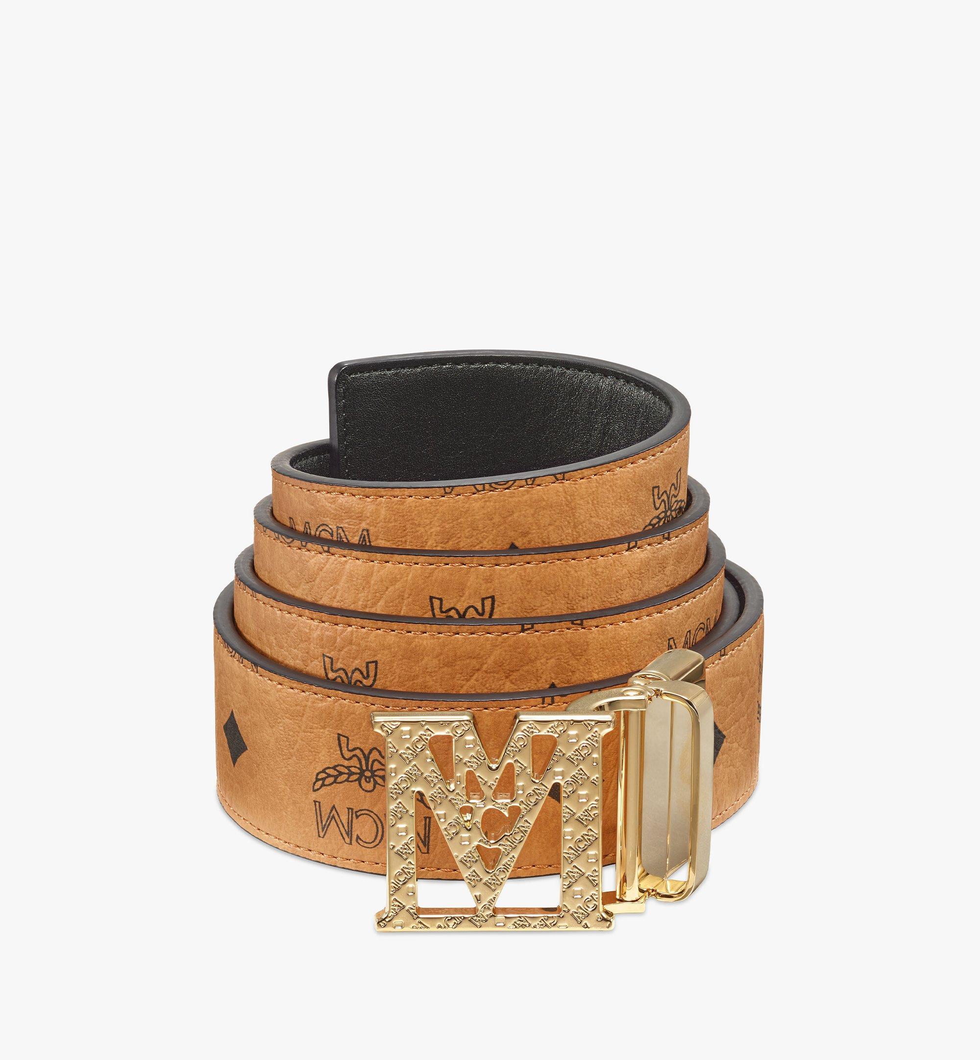 MCM Visetos 系列 Mena 織紋 M 1.5 吋雙面皮帶 Cognac MXBBSLM01CO001 更多視圖 1