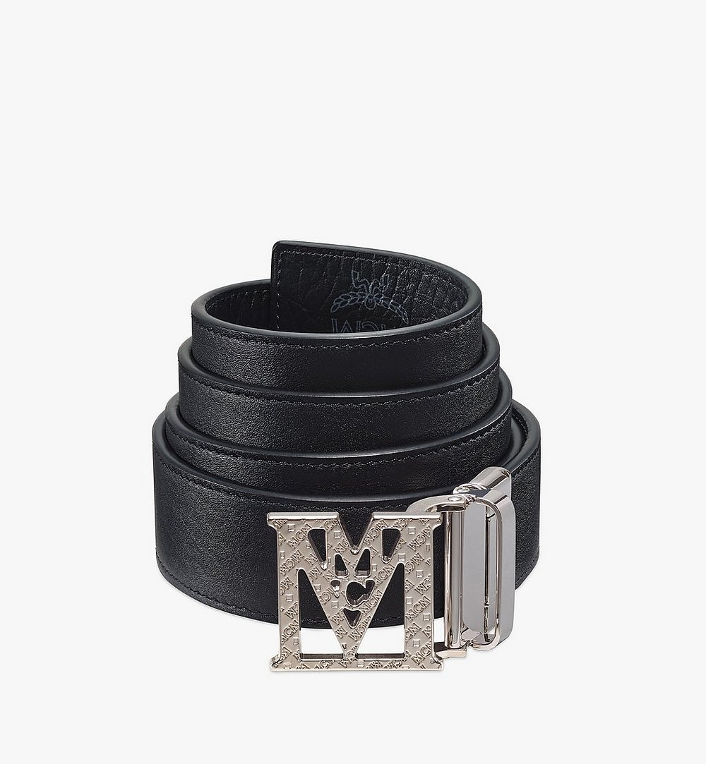 "MCM Mena Textured M Reversible Belt 1.5"" in Visetos Black MXBBSLM02BK001 Alternate View 1"