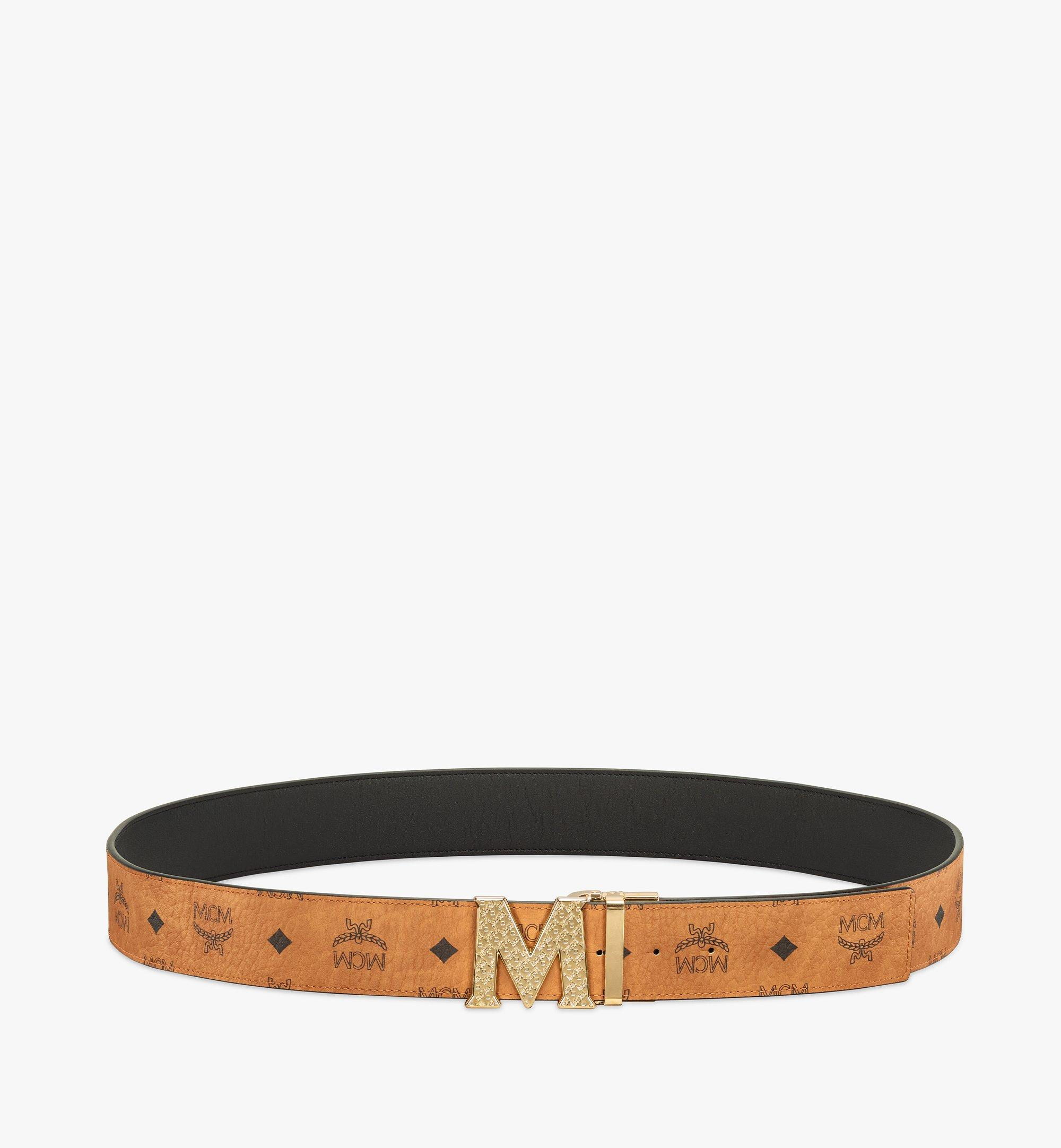 MCM Visetos 系列的 Claus 織紋 M 1.75 吋雙面皮帶 Cognac MXBBSVI01CO001 更多視圖 2