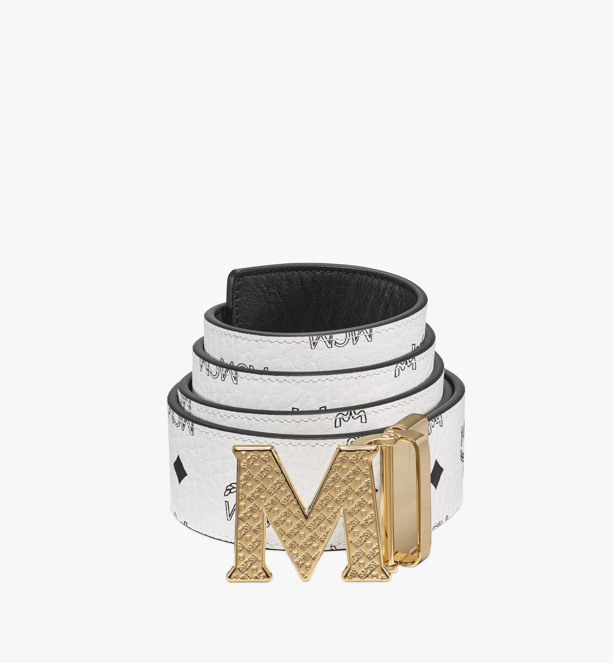 "MCM Claus Textured M Reversible Belt 1.75"" in Visetos White MXBBSVI01WT001 Alternate View 1"