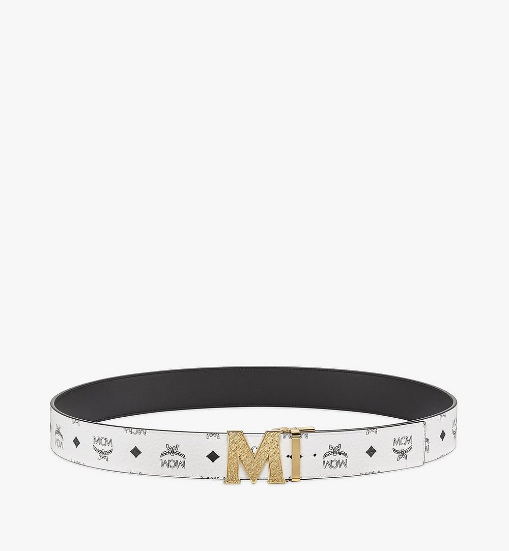 "MCM Claus Textured M Reversible Belt 1.75"" in Visetos White MXBBSVI01WT001 Alternate View 2"
