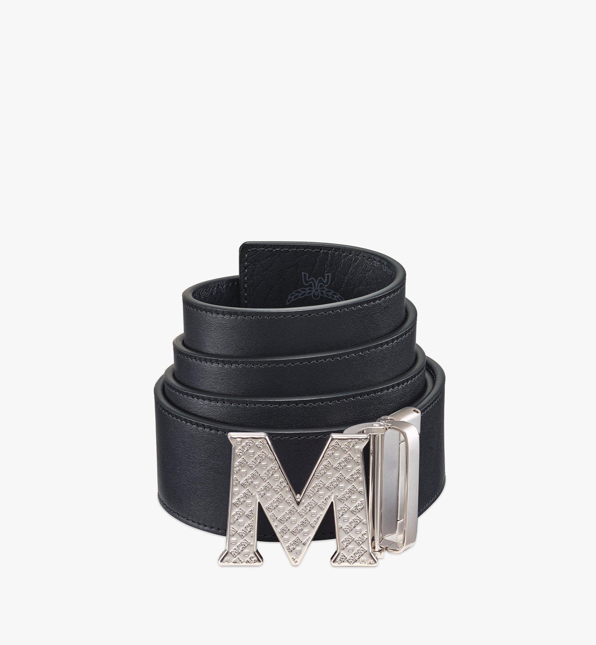 MCM Visetos 系列的 Claus 織紋 M 1.75 吋雙面皮帶 Black MXBBSVI02BK001 更多視圖 1