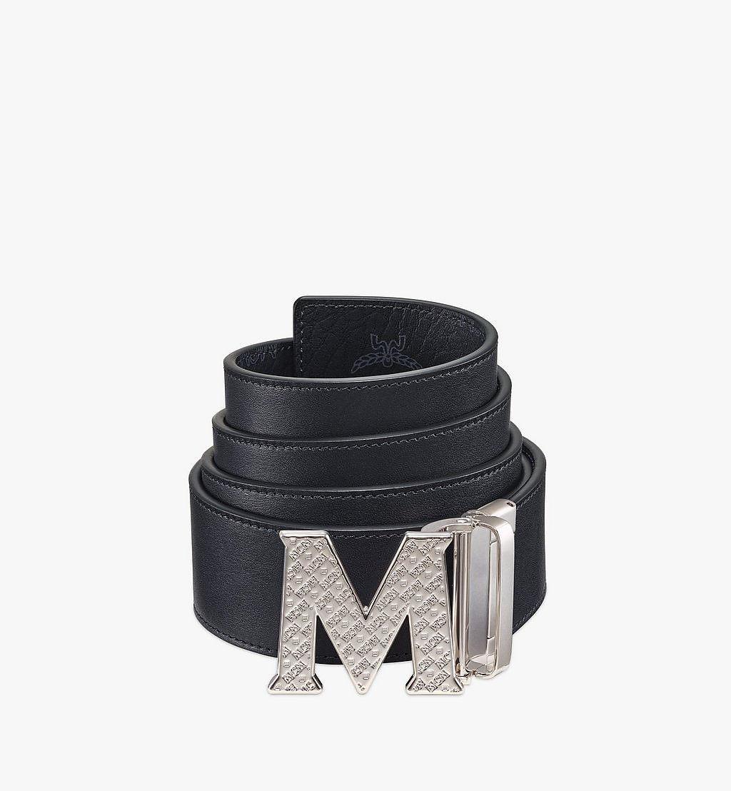 MCM Claus Textured M Reversible Belt 4.5 cm in Visetos Black MXBBSVI02BK001 Alternate View 1