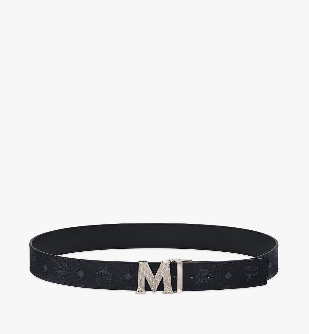 MCM Claus Textured M Reversible Belt 4.5 cm in Visetos Black MXBBSVI02BK001 Alternate View 2