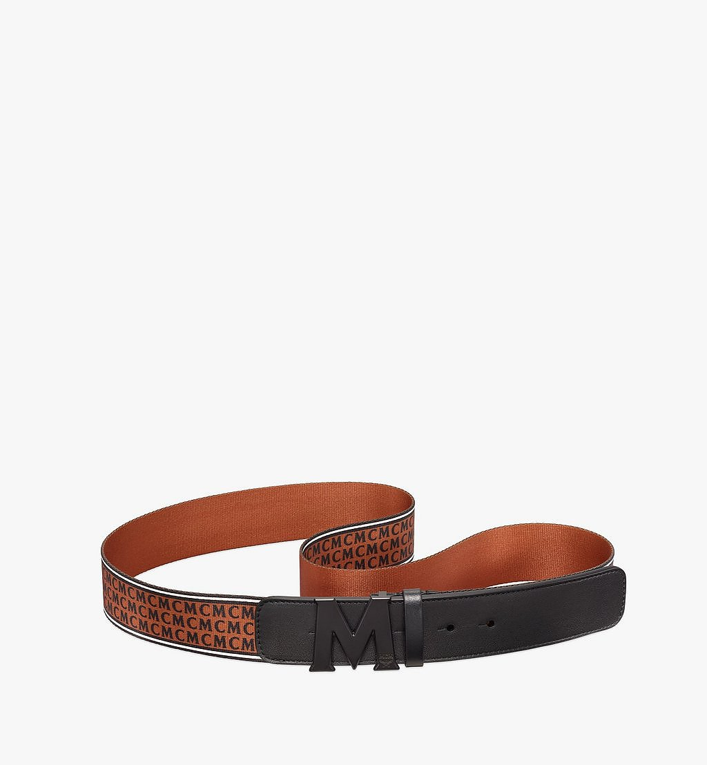 MCM Claus Matte M Monogram Webbing Belt 4.2 cm Cognac MXBBSVI03CB110 Alternate View 1