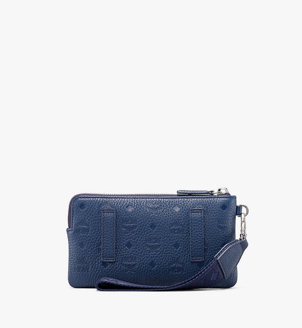 MCM Tivitat Tech Pouch in Monogram Leather Blue MXE9ABT21VA001 Alternate View 1