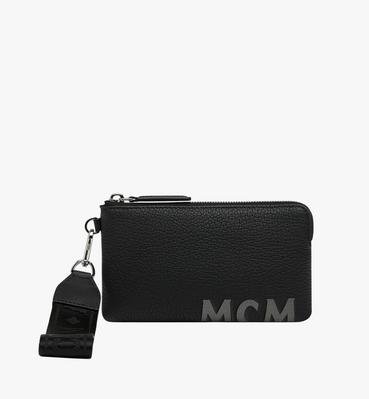Tech Pouch in Logo Print Leather