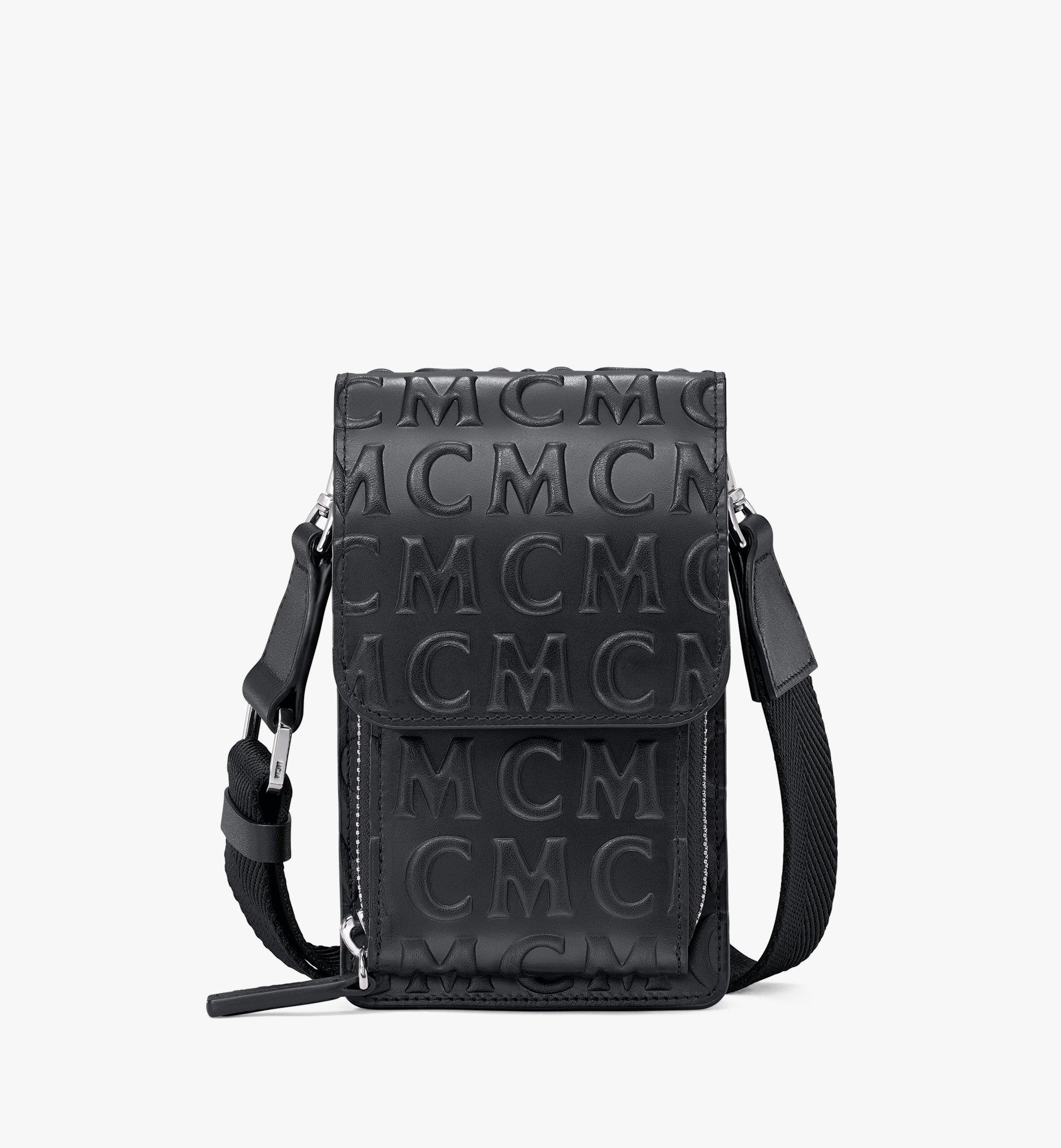 MCM Crossbody Phone Case in MCM Monogram Leather Black MXEAAMD01BK001 Alternate View 1