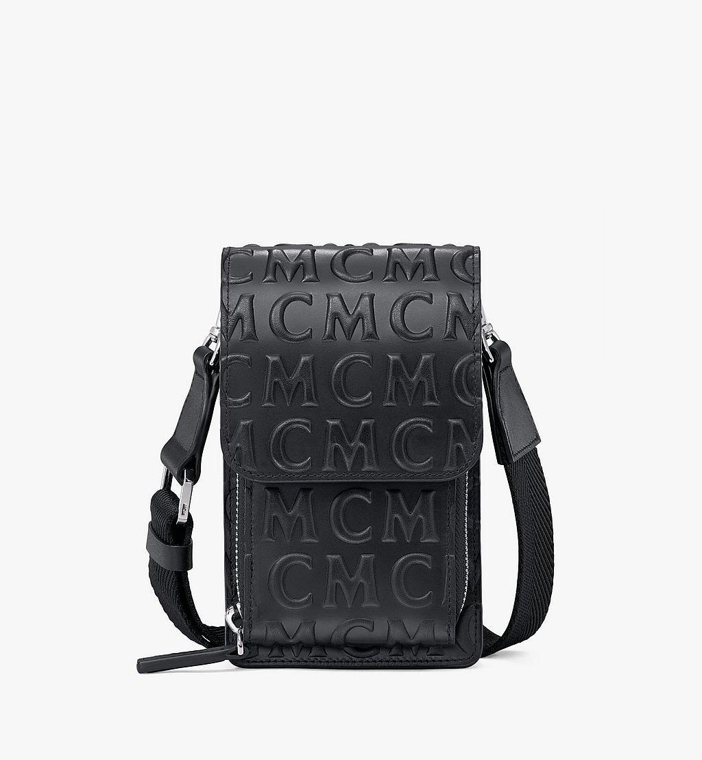 MCM Crossbody Phone Case in MCM Monogram Leather Black MXEAAMD01BK001 Alternate View 1