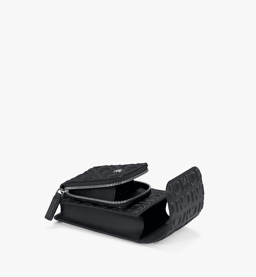 MCM Crossbody Phone Case in MCM Monogram Leather Black MXEAAMD01BK001 Alternate View 2