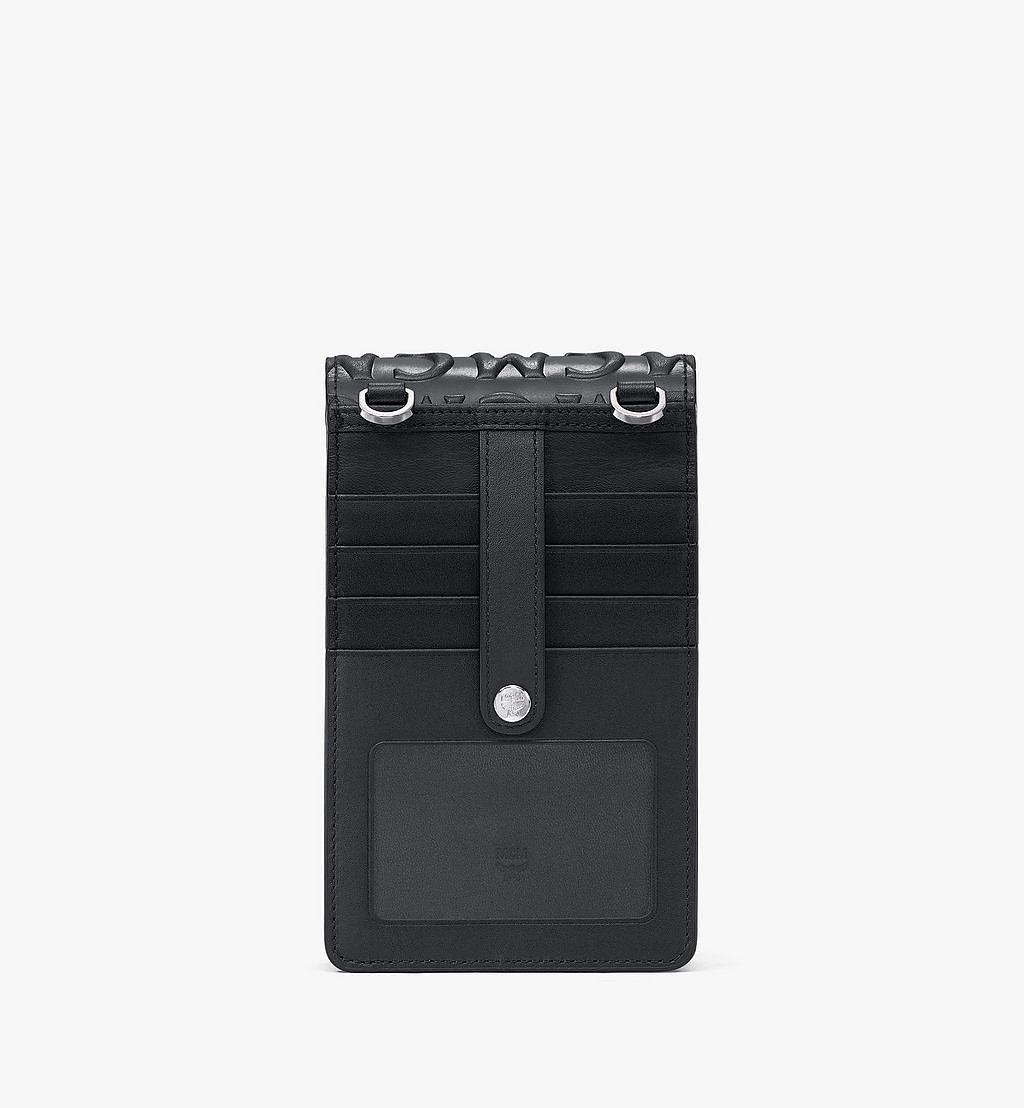 MCM Crossbody Phone Case in MCM Monogram Leather Black MXEAAMD01BK001 Alternate View 3