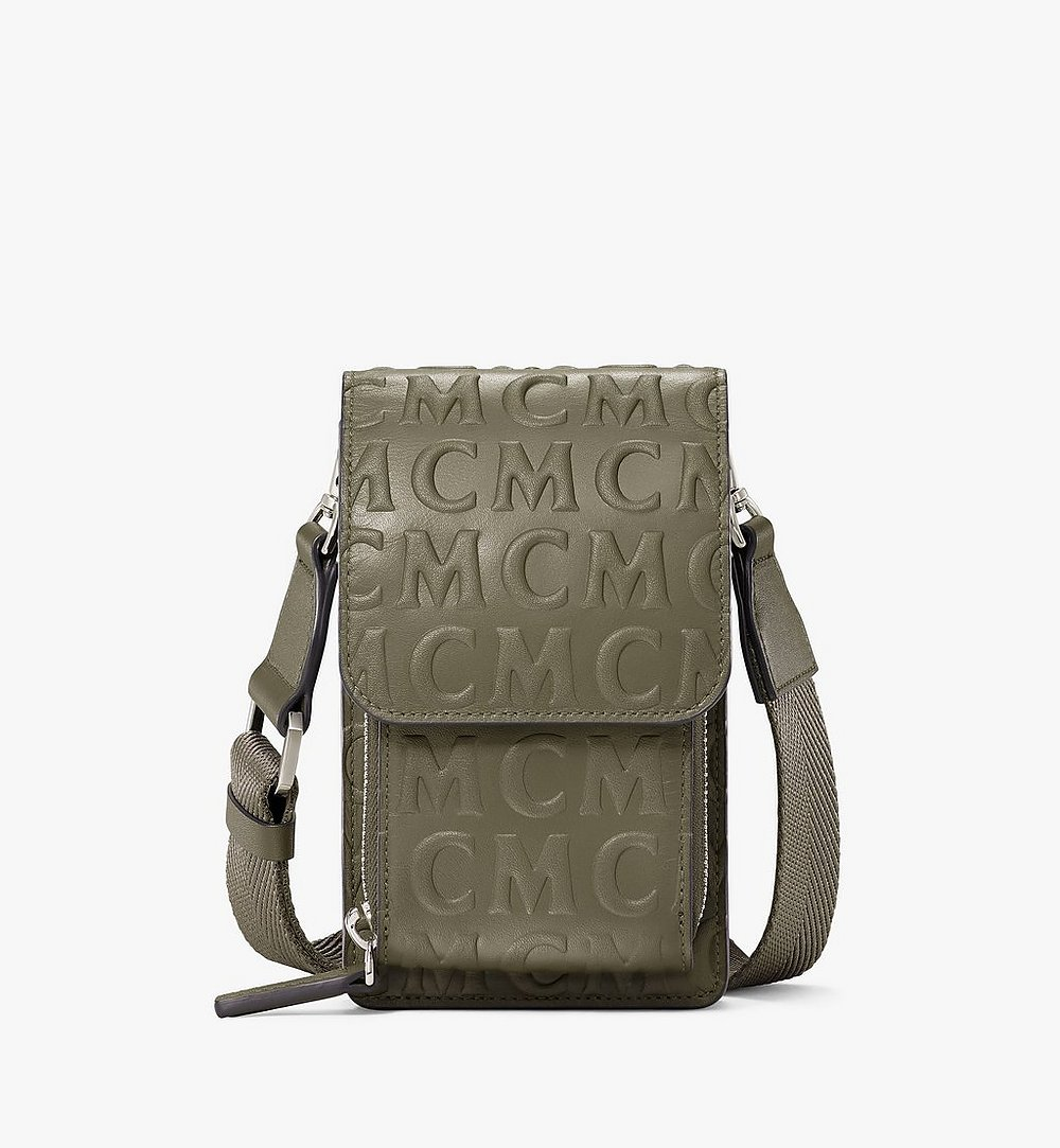 MCM Crossbody Phone Case in MCM Monogram Leather Green MXEAAMD01JH001 Alternate View 1