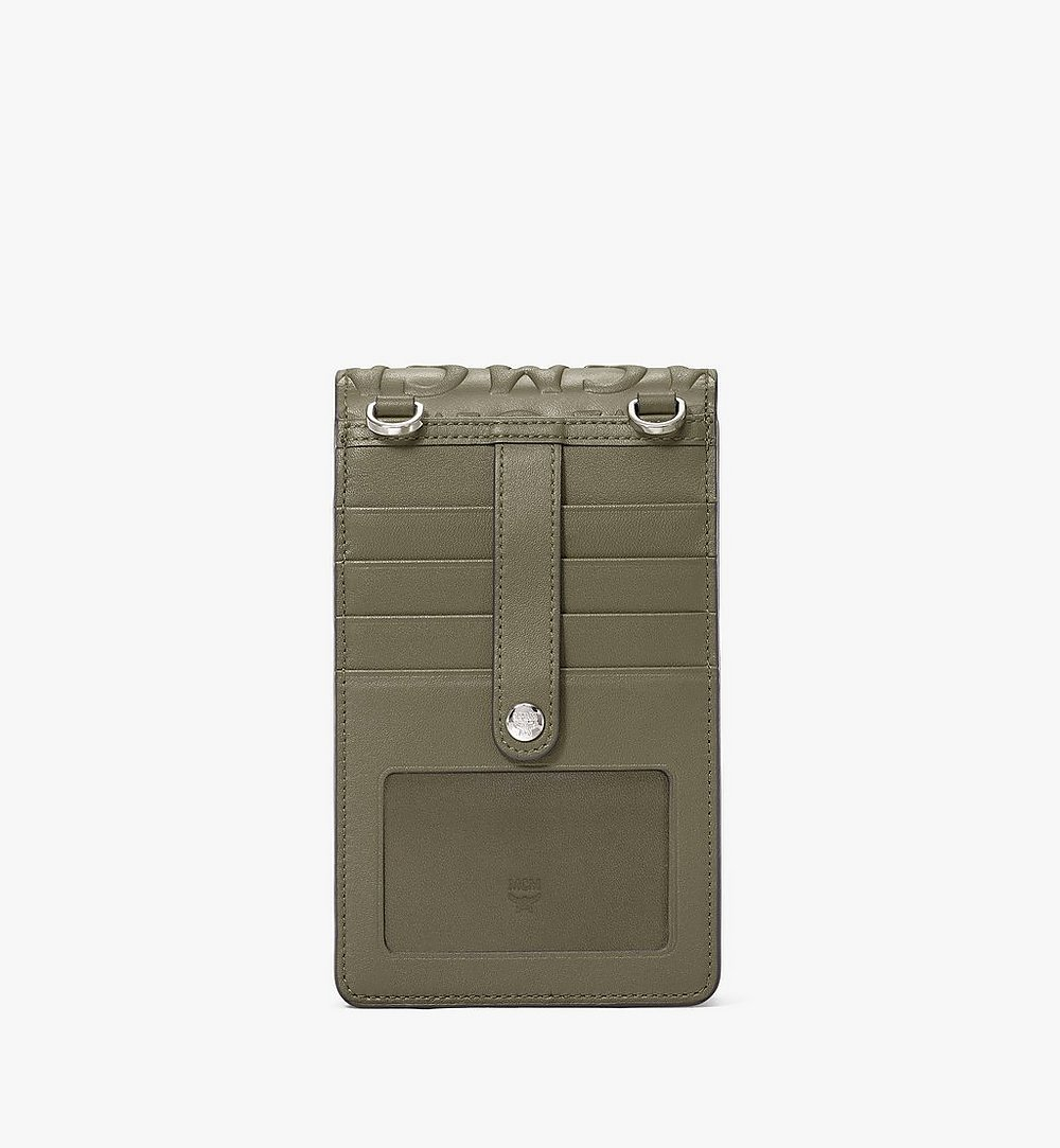 MCM Crossbody Phone Case in MCM Monogram Leather Green MXEAAMD01JH001 Alternate View 3