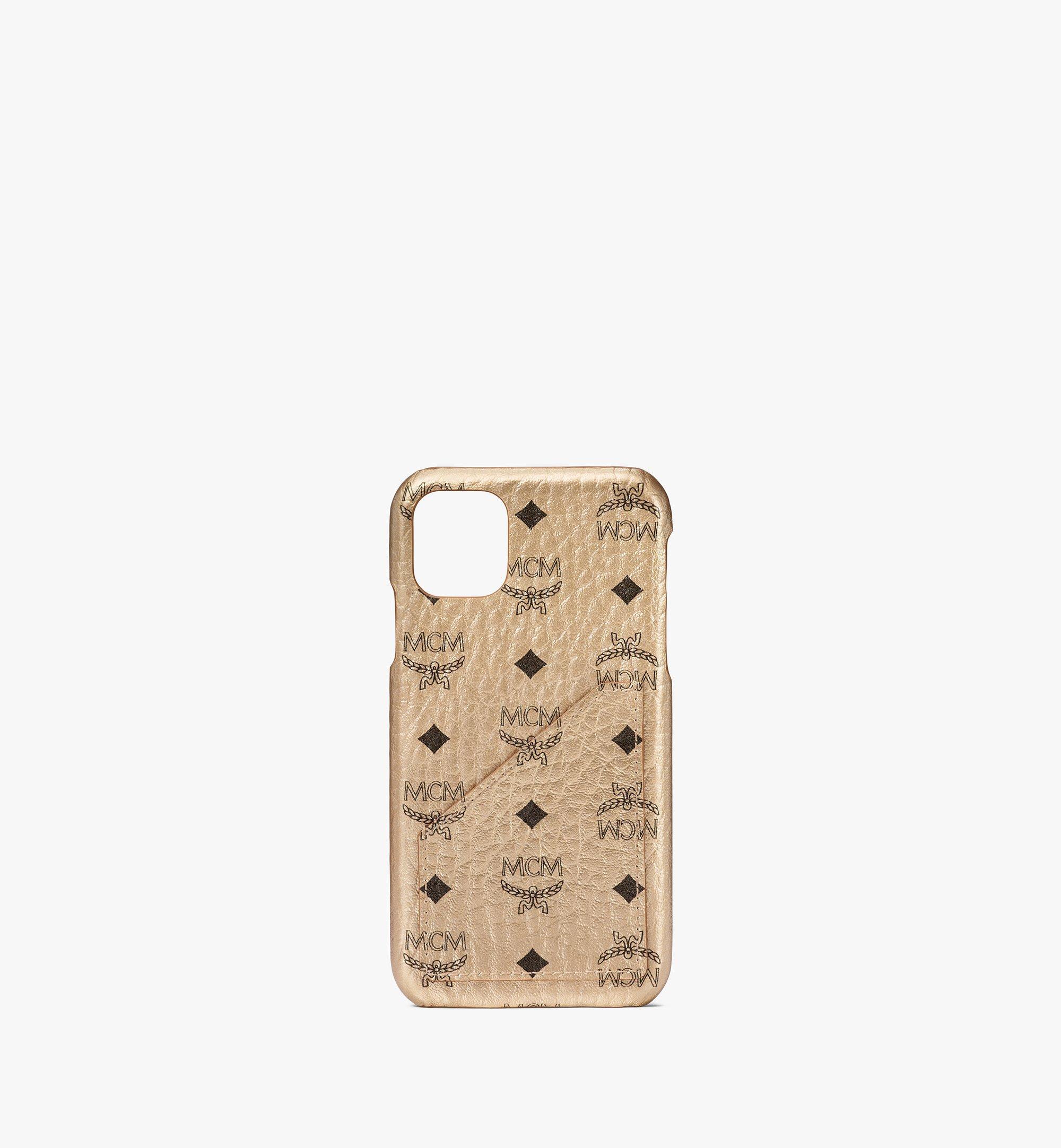 MCM iPhone 11 Case in Visetos Original Gold MXEAAVI10T1001 Alternate View 1