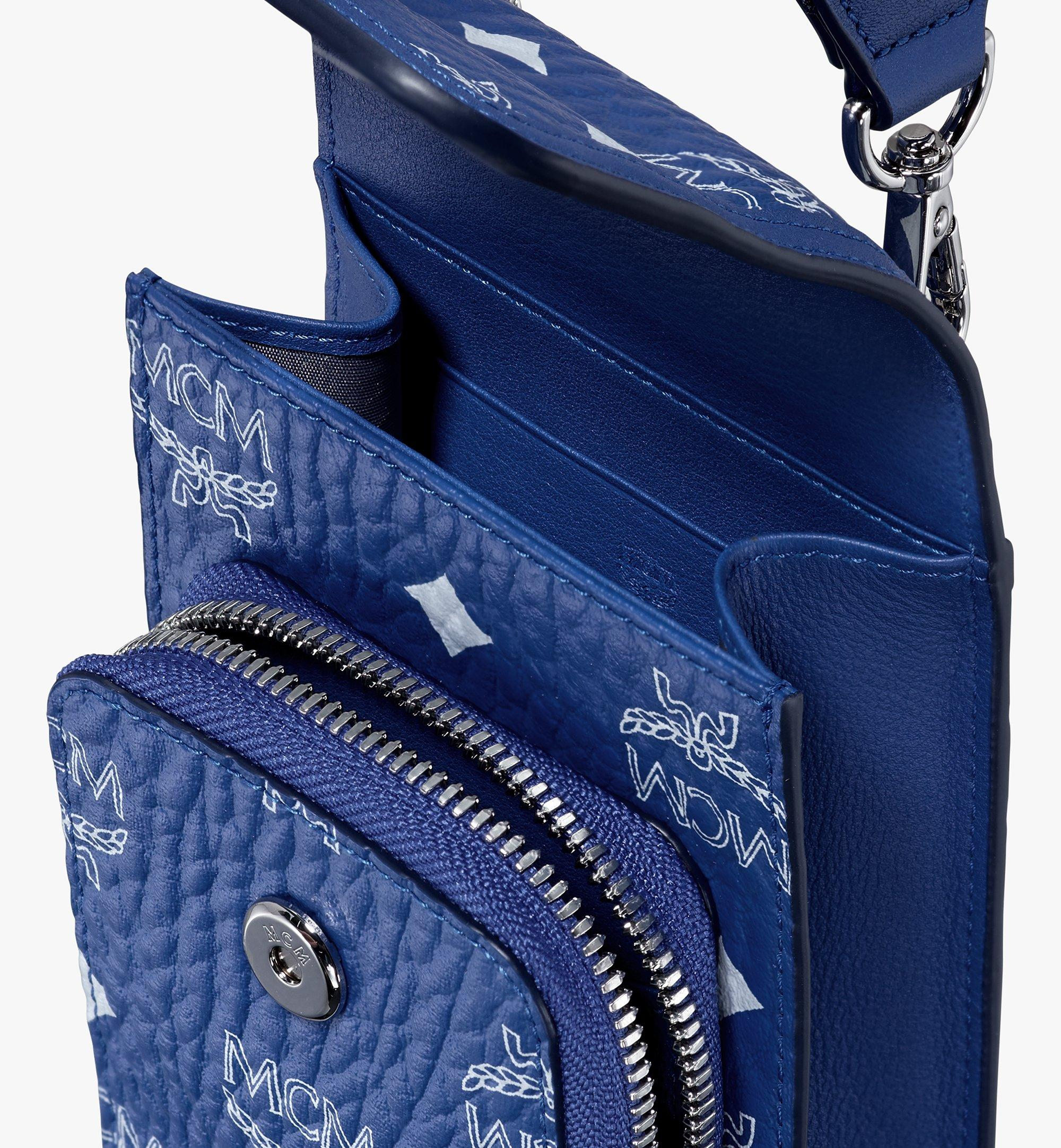 MCM Crossbody Phone Case in Visetos Blue MXEASVI01H1001 Alternate View 4