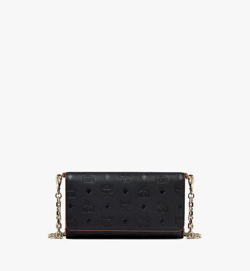 Klara Multifunktionale Brieftasche aus Leder mit Monogramm und Kettenriemen